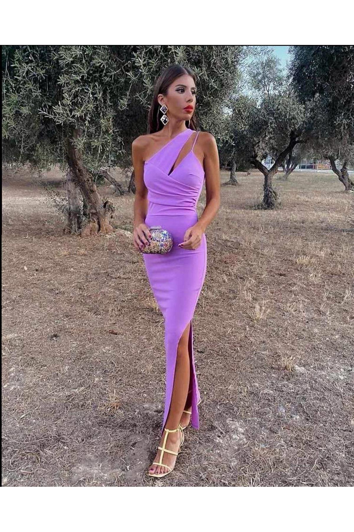 Yaka detaylı yırtmaçlı elbise - Lila