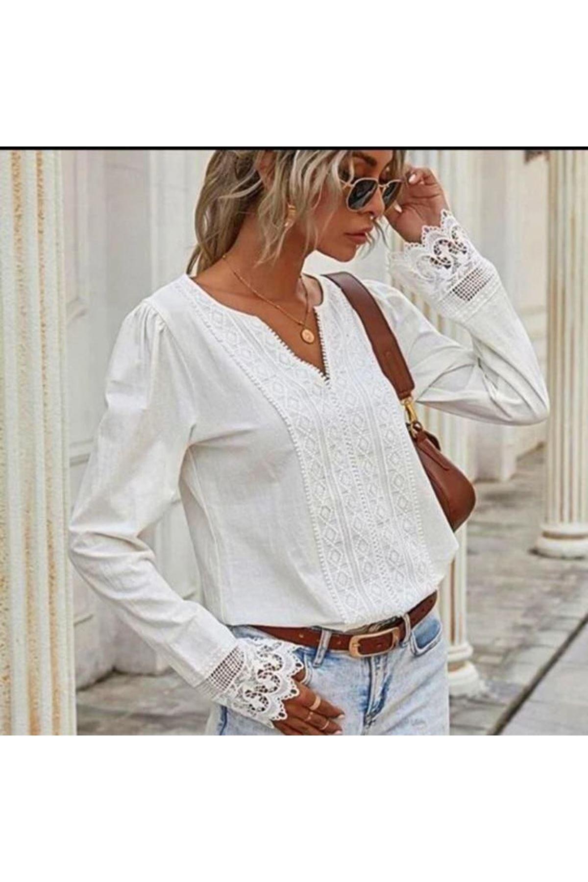 Güpür detaylı Bluz - Beyaz