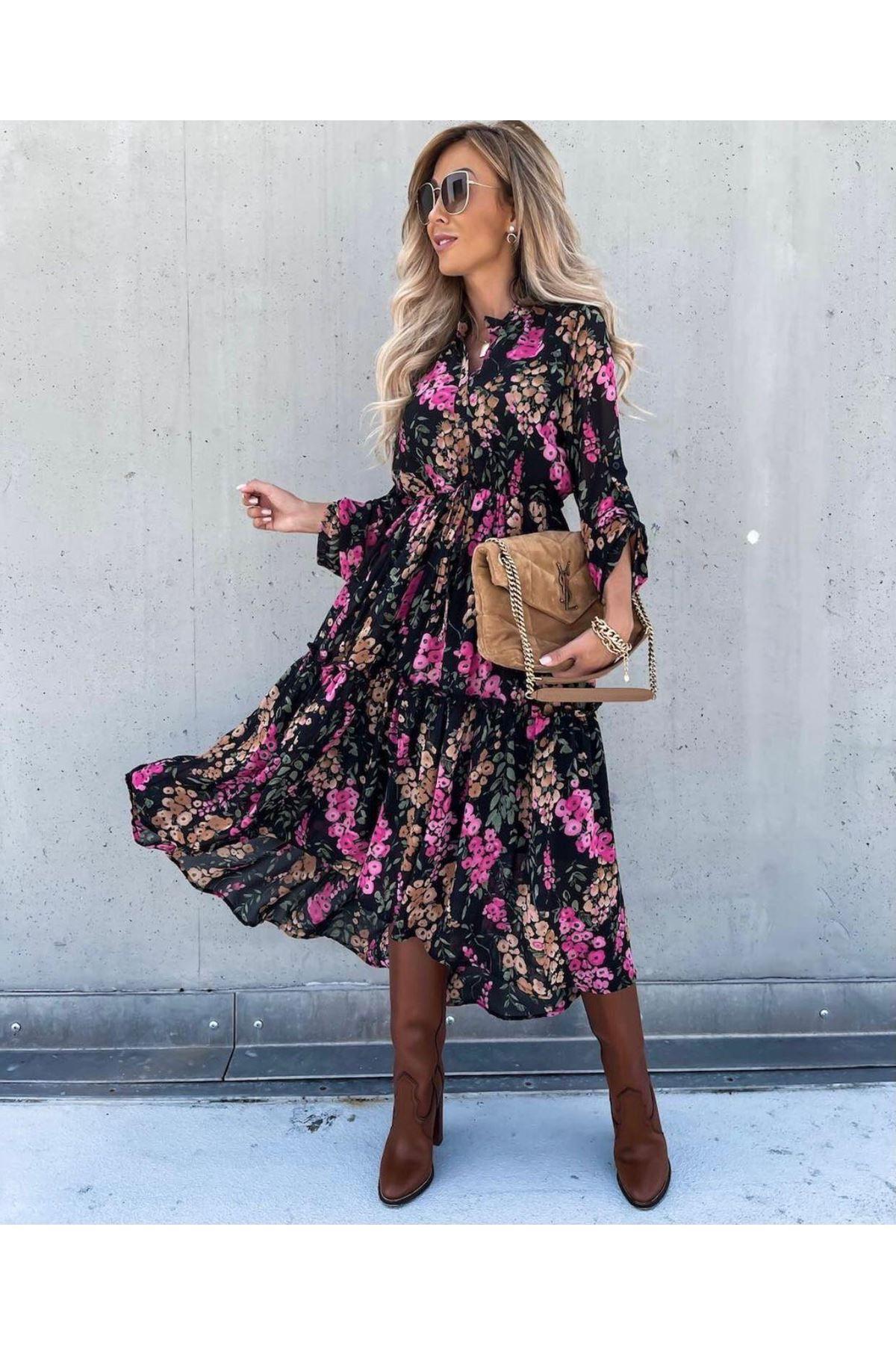 Çiçek Desen Şifon Elbise - multi