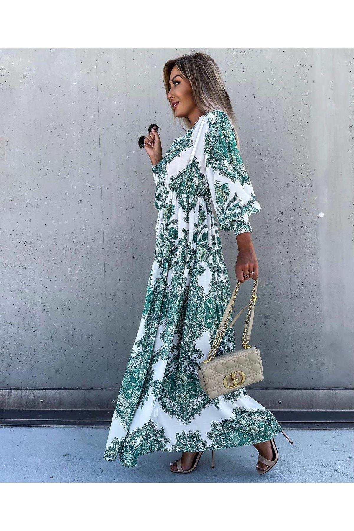 Otantik Desen Düğmeli Elbise -  multi