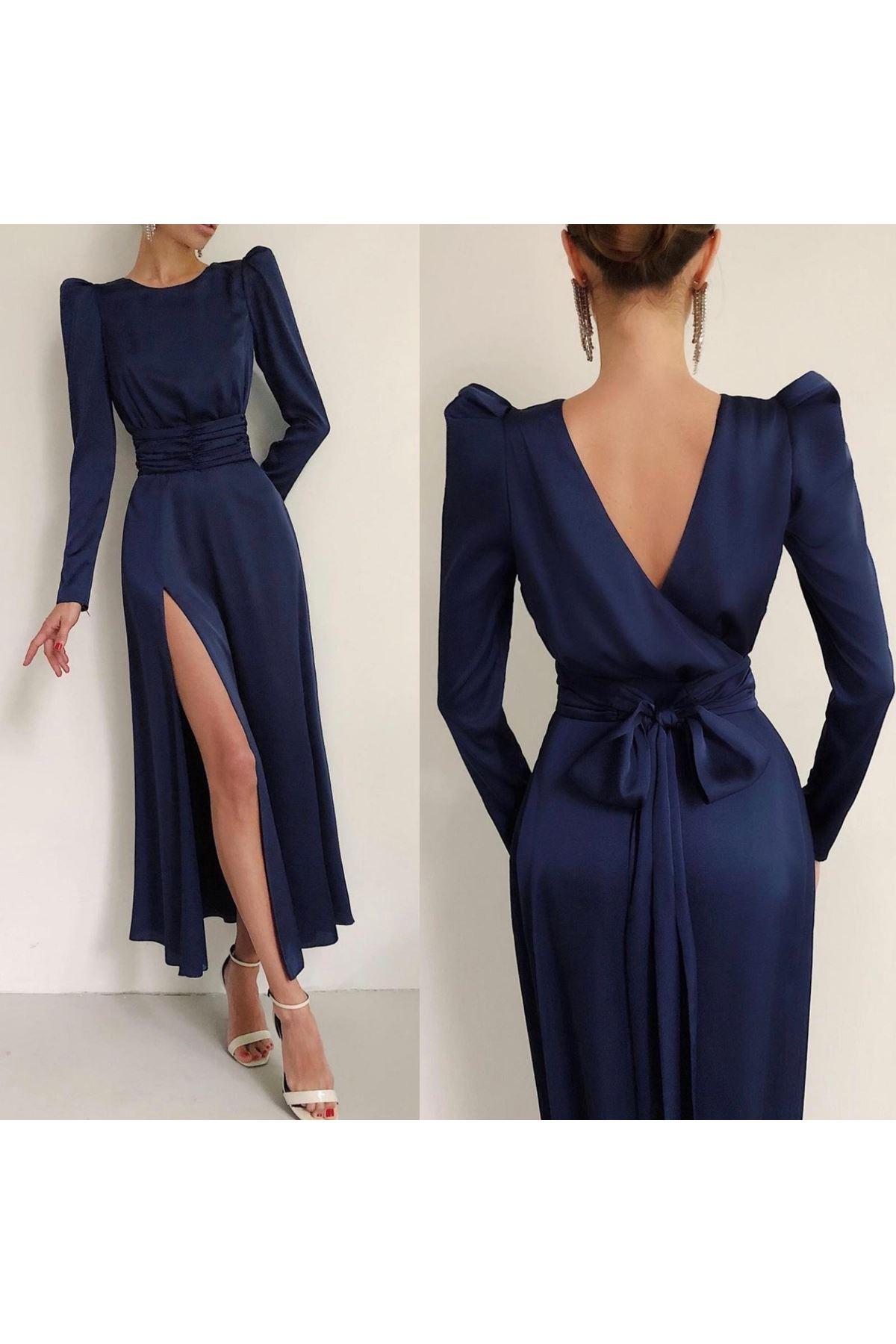 Sırt Dekolteli Yırtmaçlı Elbise - Lacivert