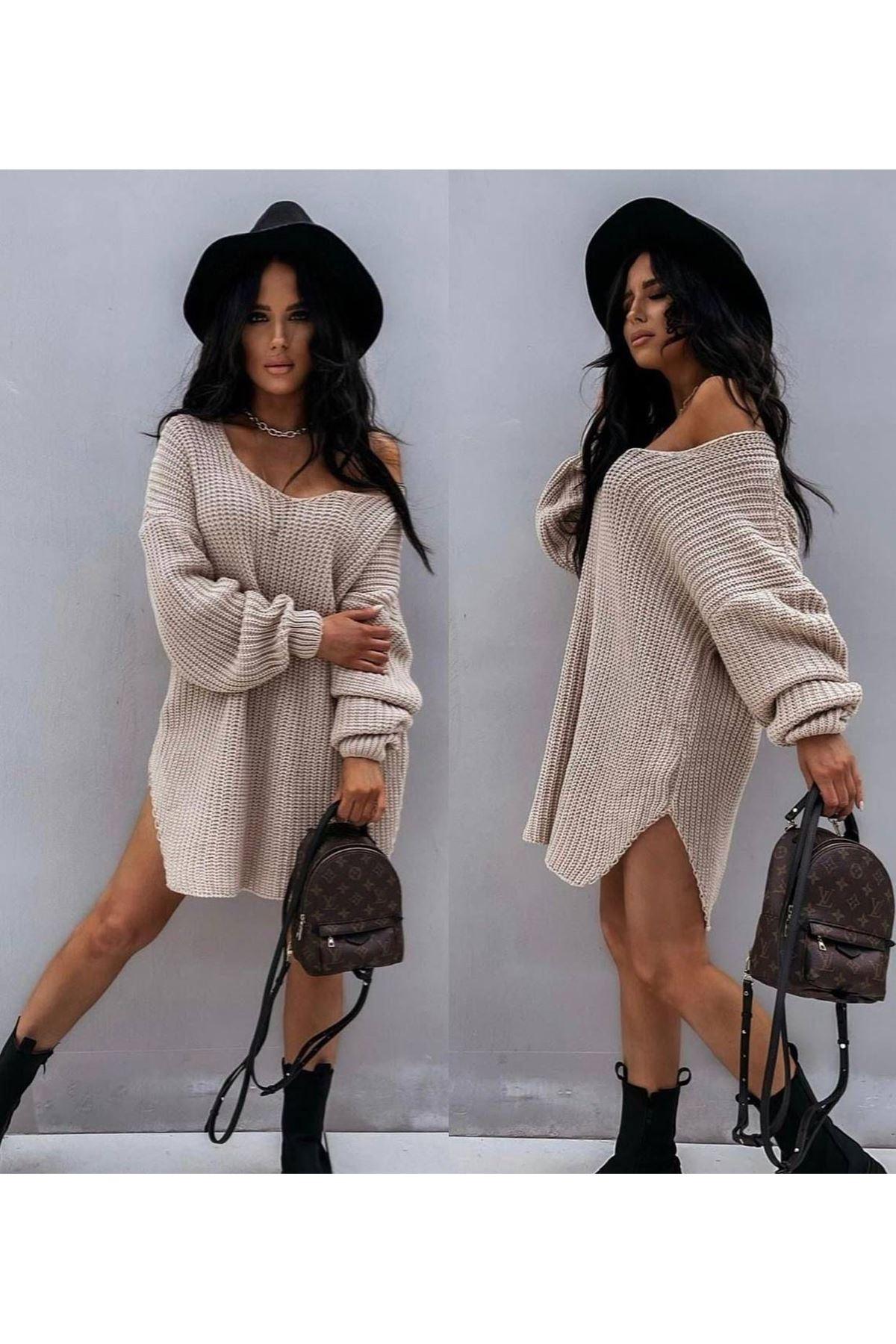 Düşük Omuz Tunik Elbise - SÜTLÜ KAHVE
