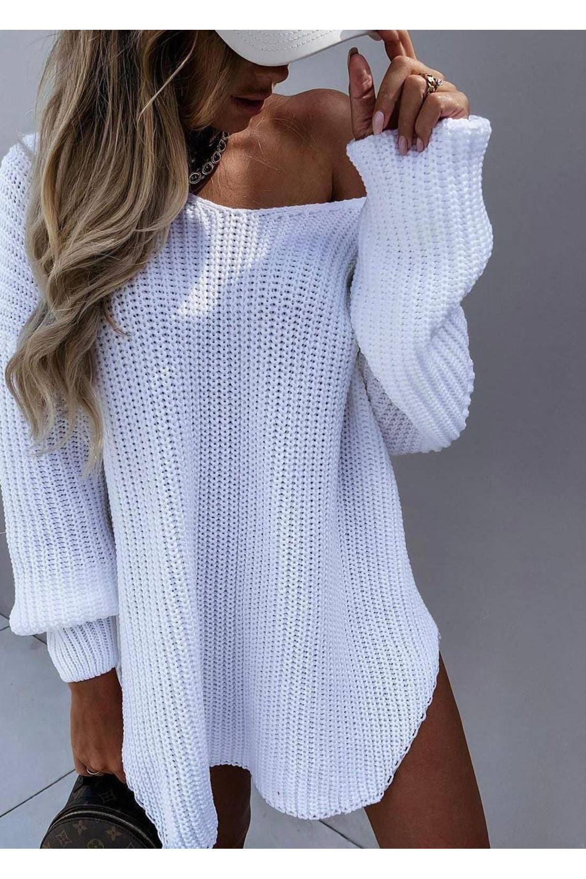 Düşük Omuz Tunik Elbise - BEYAZ