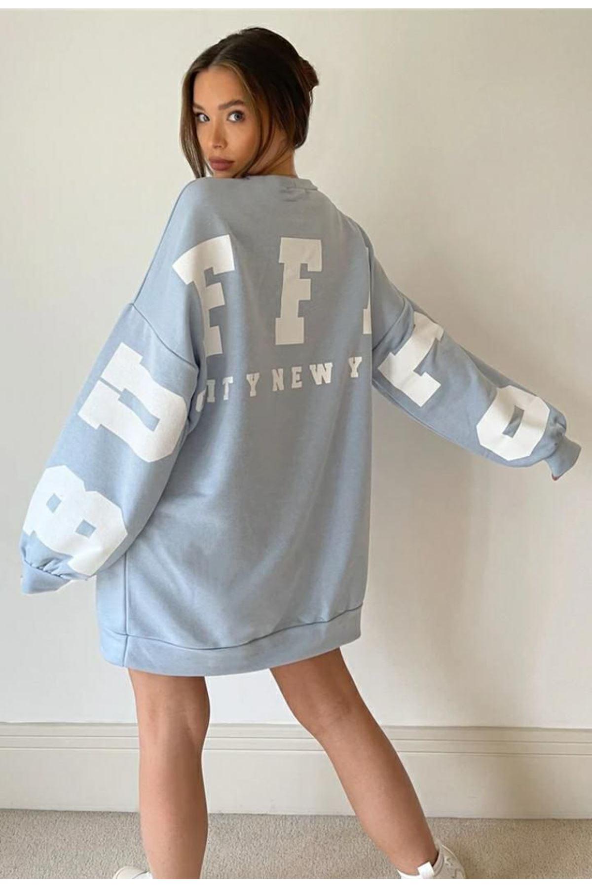 Buffalo Baskılı sweet Elbise - Bebe Mavi