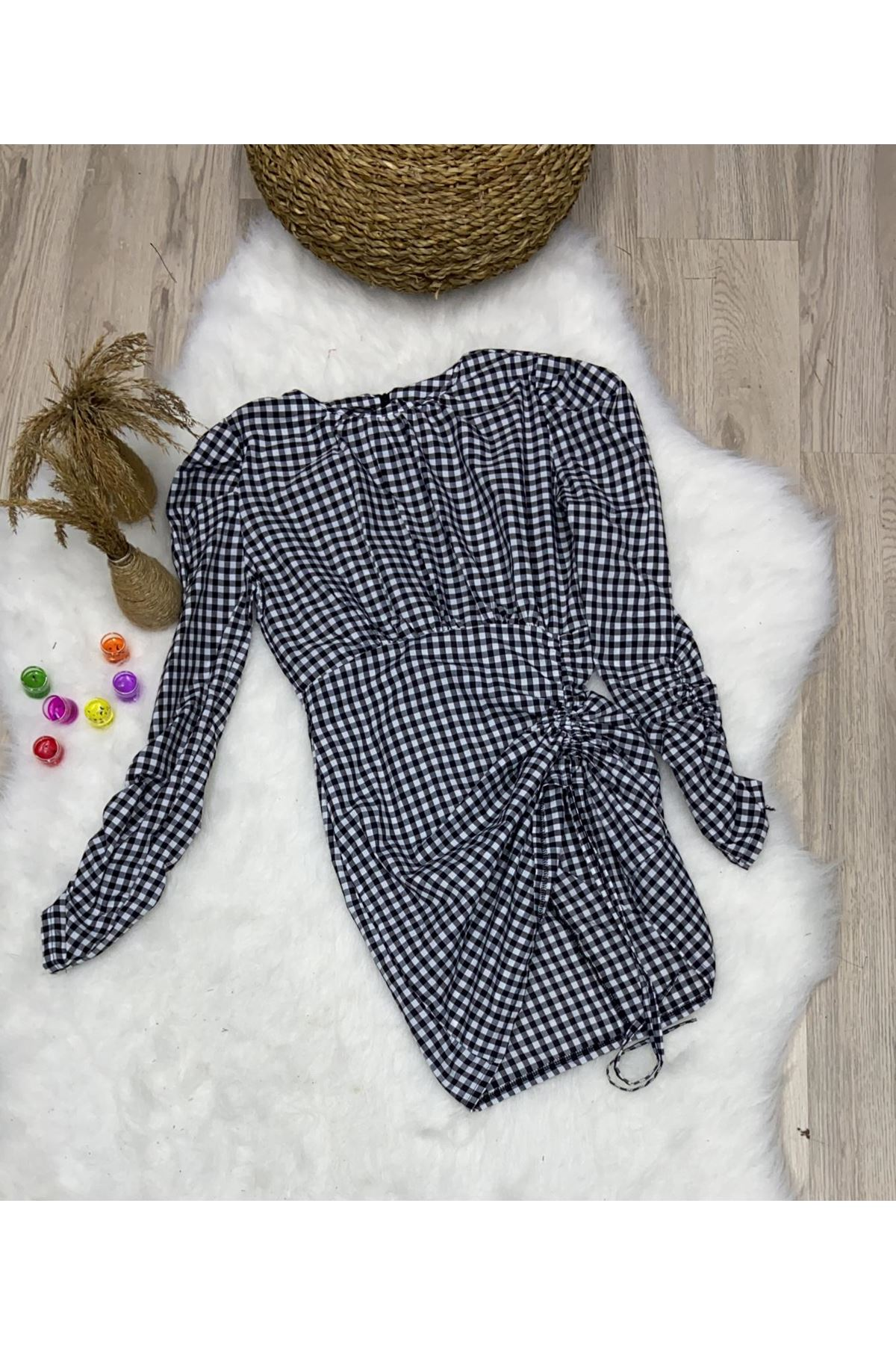 Ekose Kumaş Drapeli Elbise - MULTİ