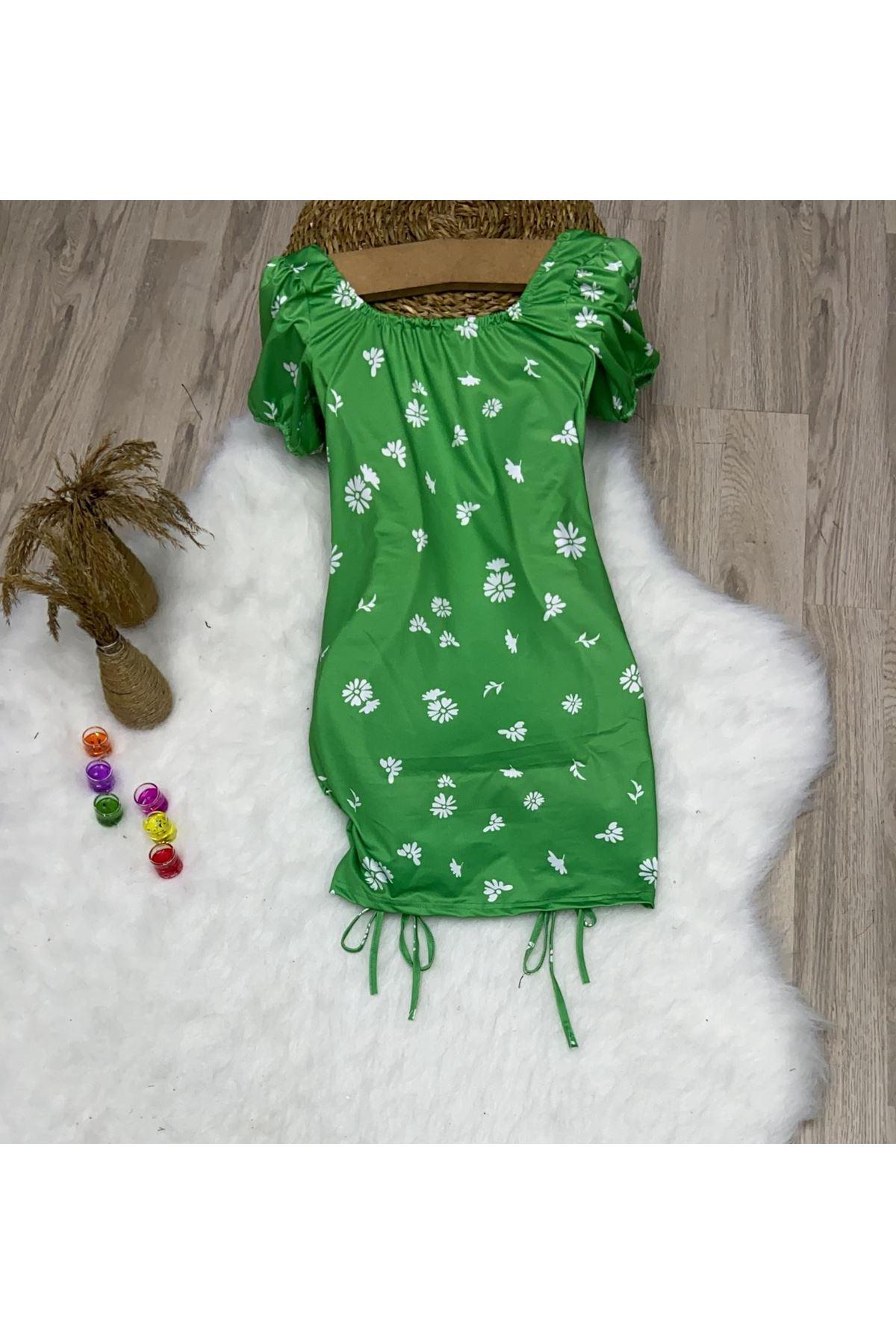 U Yaka Büzgülü Elbise - YEŞİL
