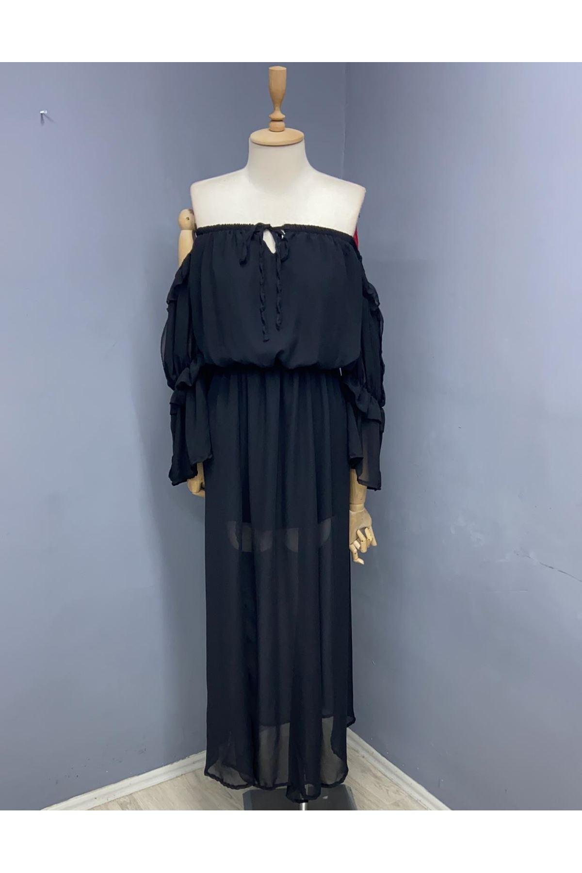 Madonna Yaka Şifon Elbise - SİYAH