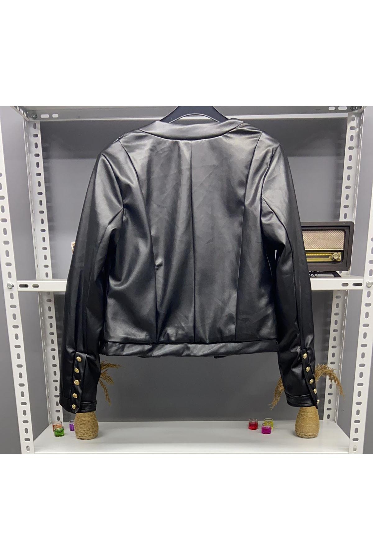 Balmain Model Deri Ceket - SİYAH