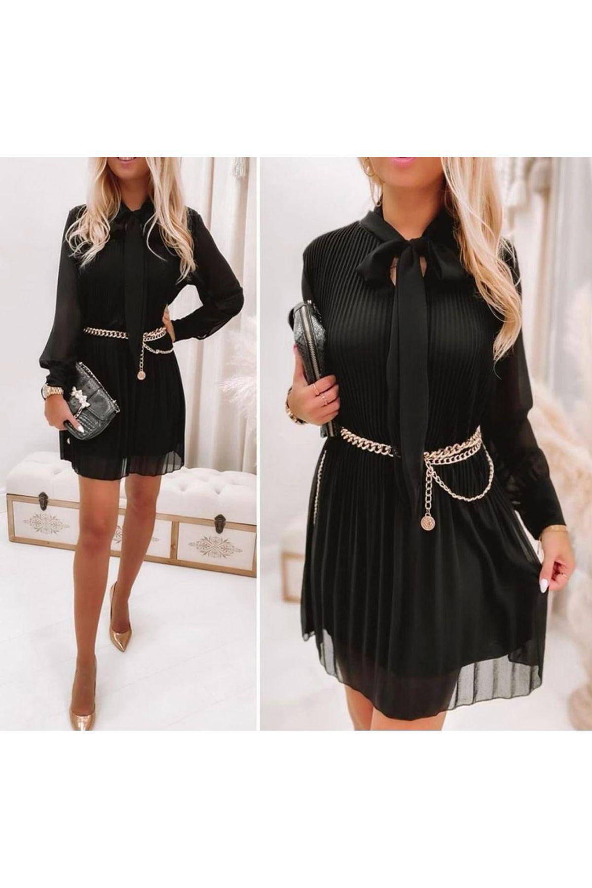 Zincir Kemer Detaylı Piliseli Elbise - Siyah