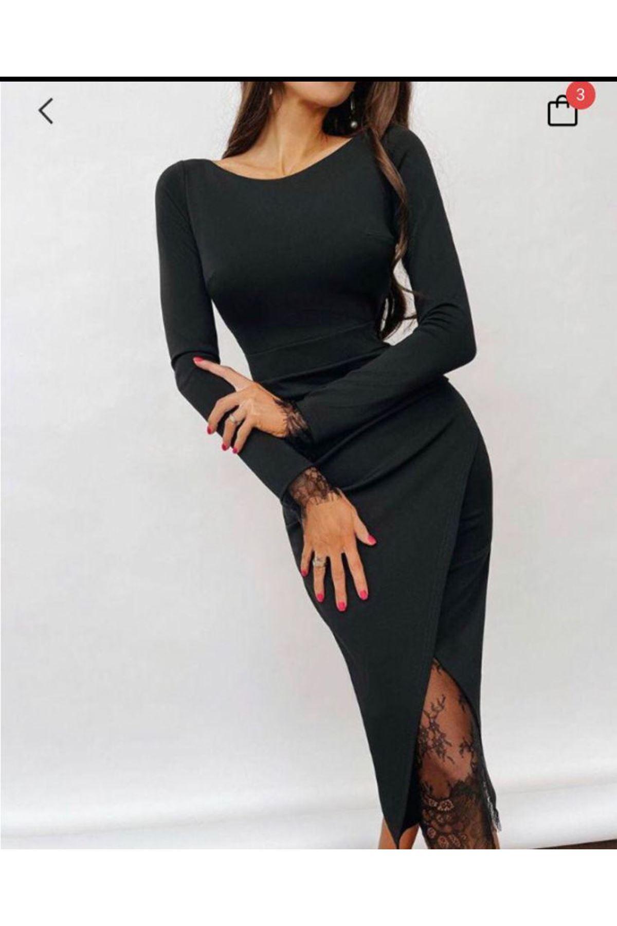 Etek Ucu Dantel Detay Elbise - SİYAH