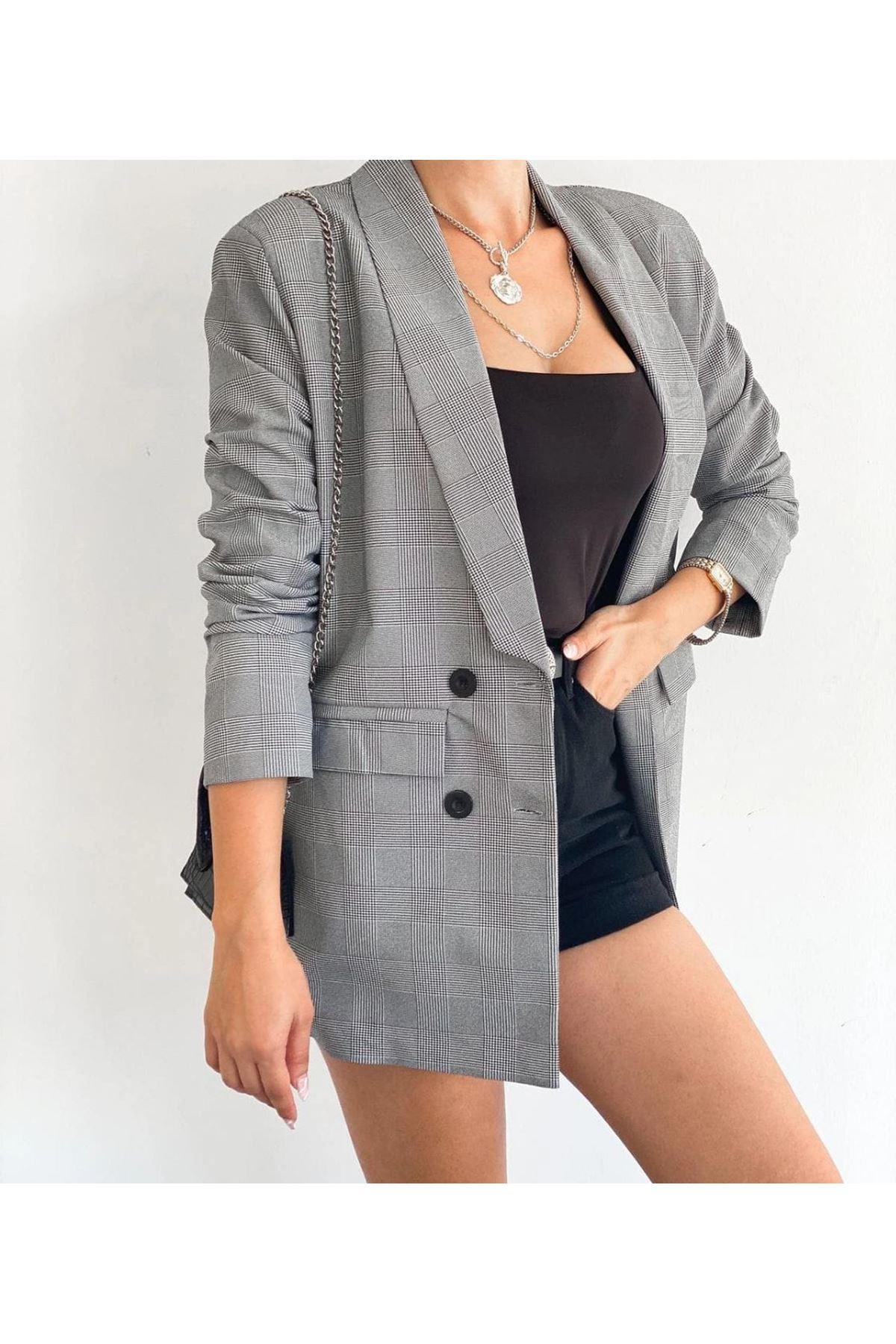 Ekose Desen Zara Model Ceket - GRİ