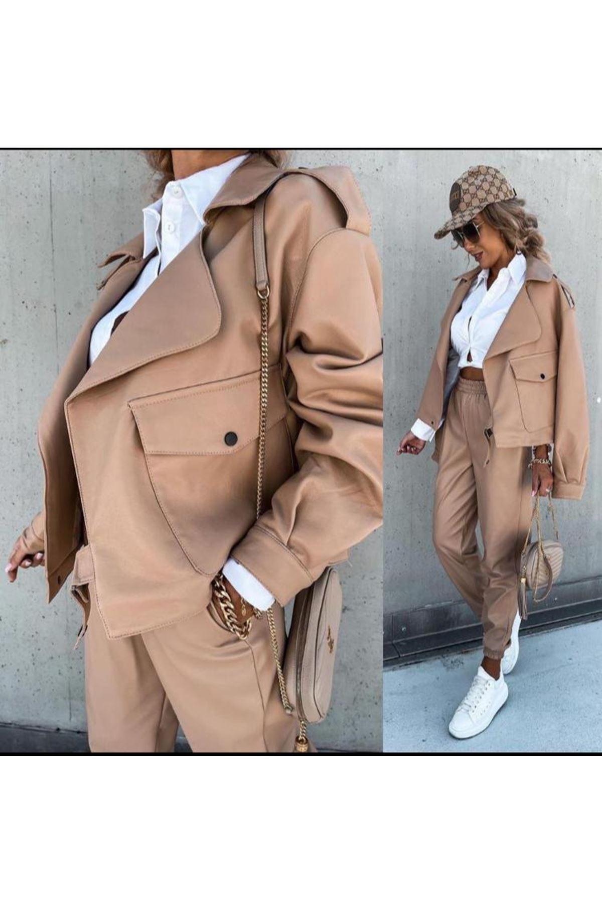 Zara Model Deri Cepli Takım - Vizon