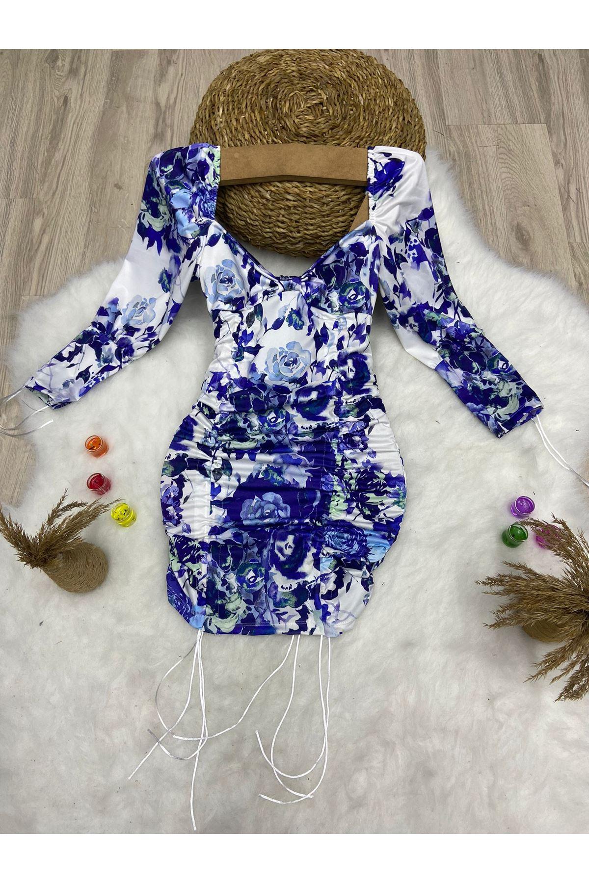 Dijital Baskılı Sırt Dekolteli Mini Elbise - Multi