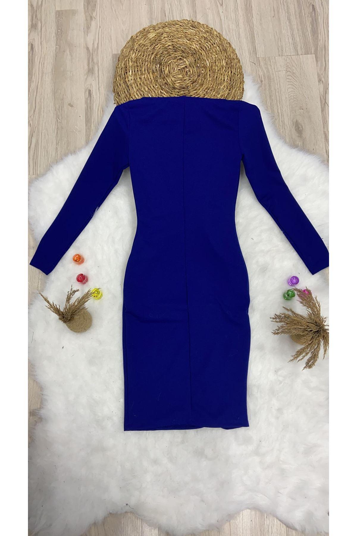 Lycralı Göğüs Dekolteli Midi Elbise - SAX