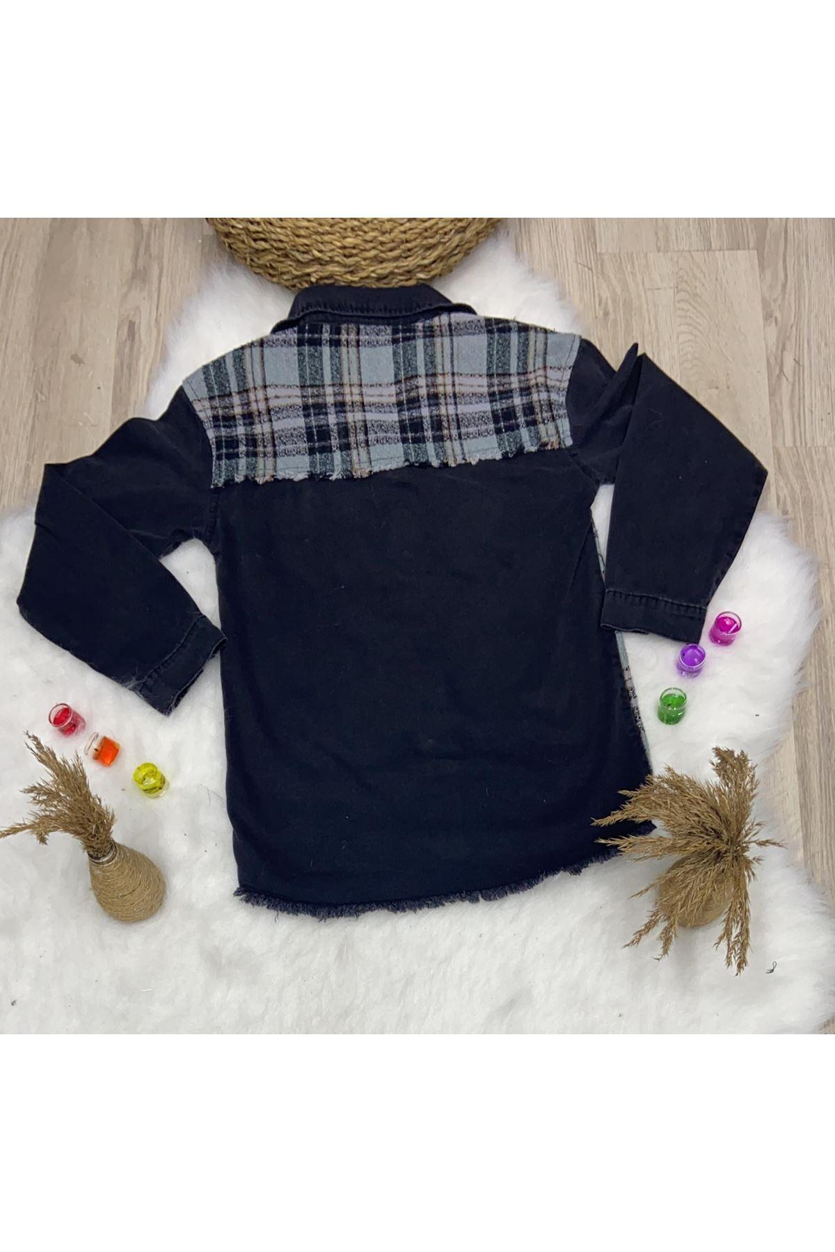Kaşe Kumaş Detaylı Kot Ceket - SİYAH