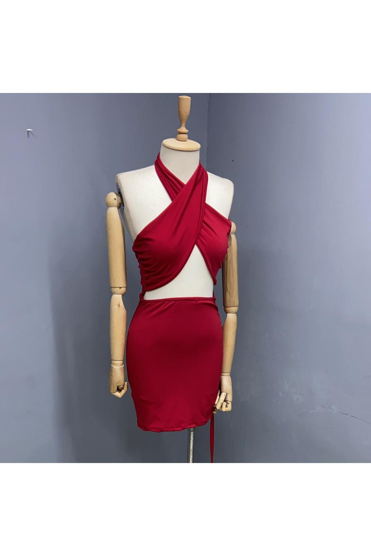 Boyundan Bağlamalı Mini Elbise - KIRMIZI