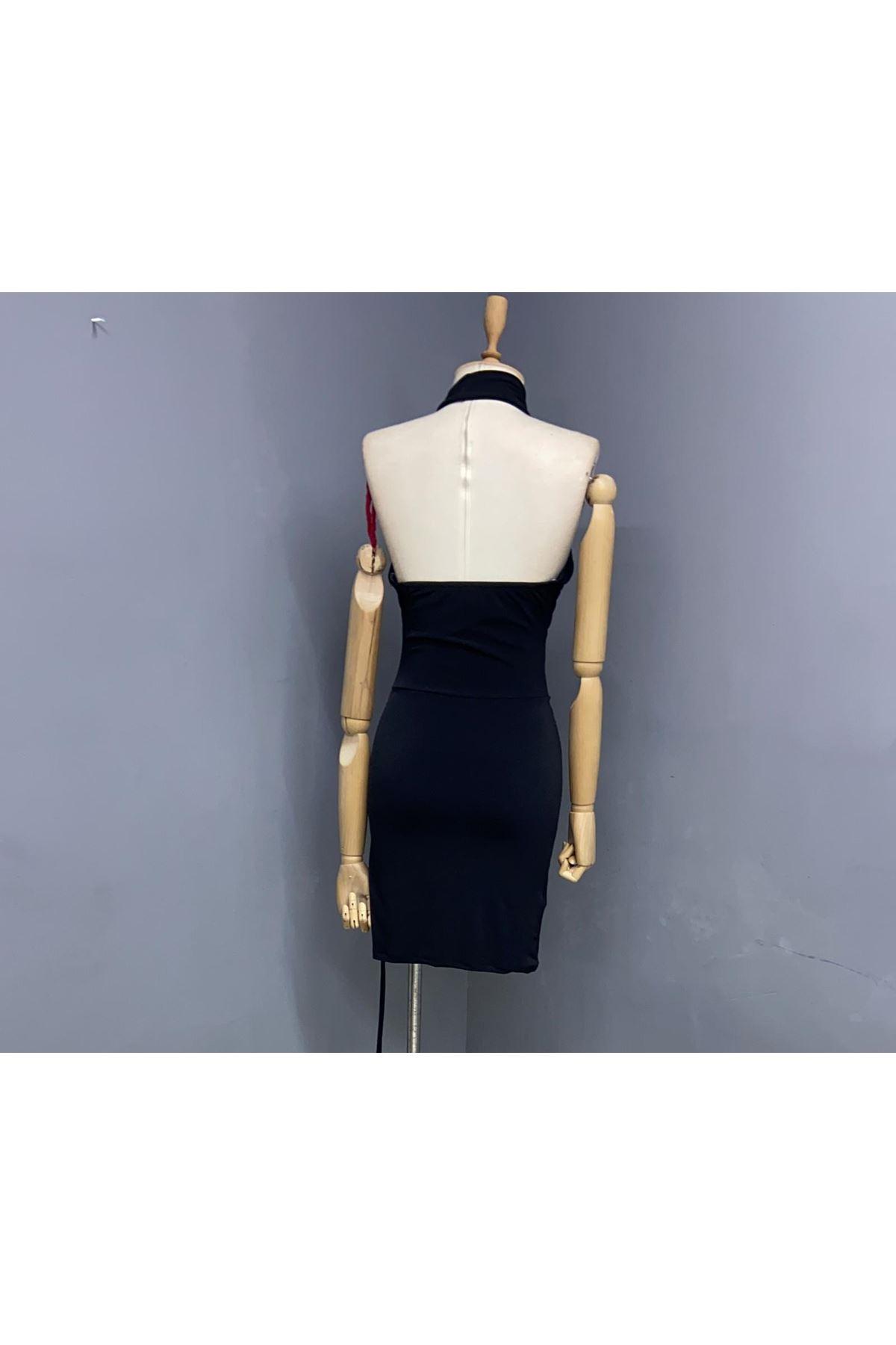 Boyundan Bağlamalı Mini Elbise - SİYAH