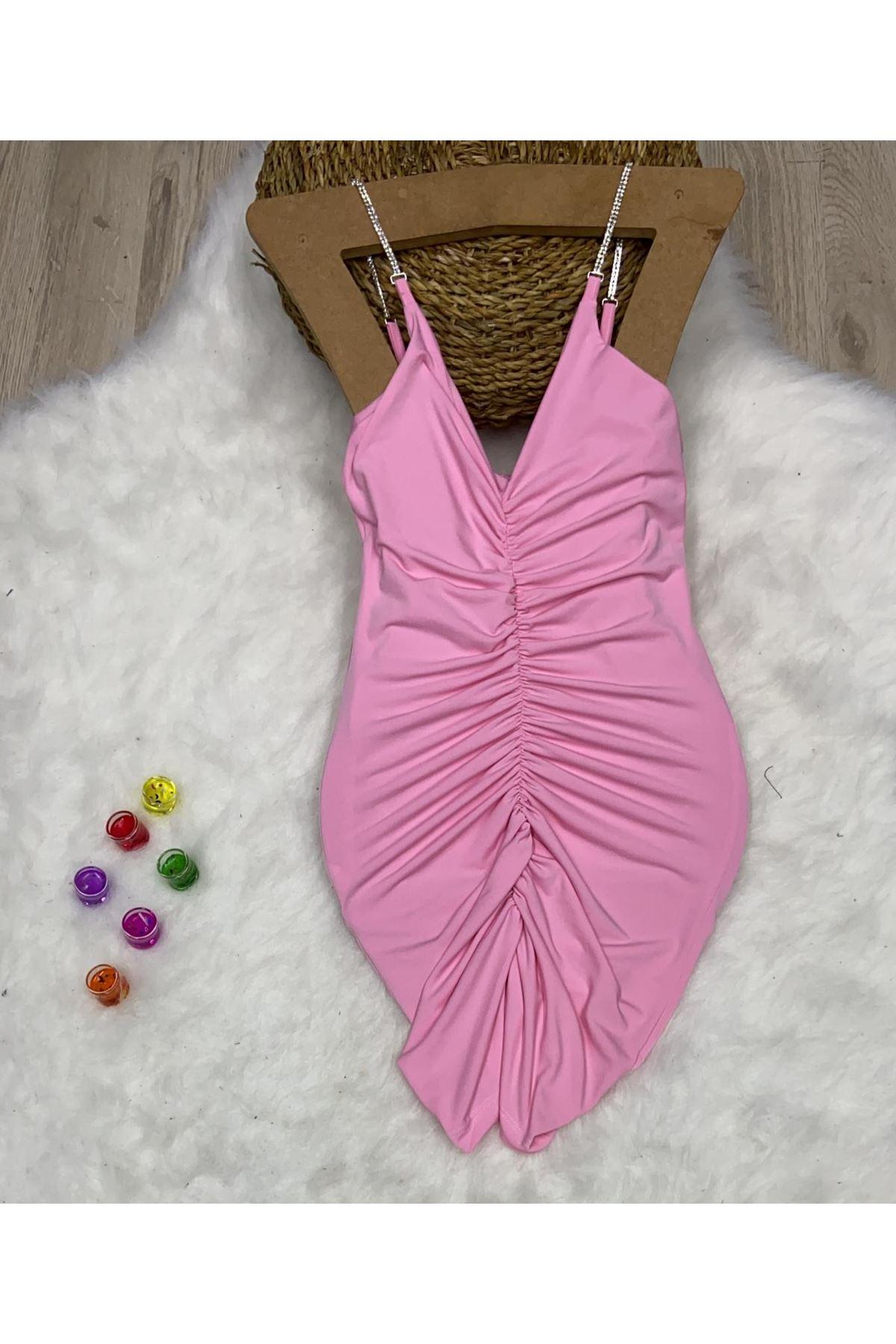 Büzgü Detay Askılı Mini Elbise - PEMBE