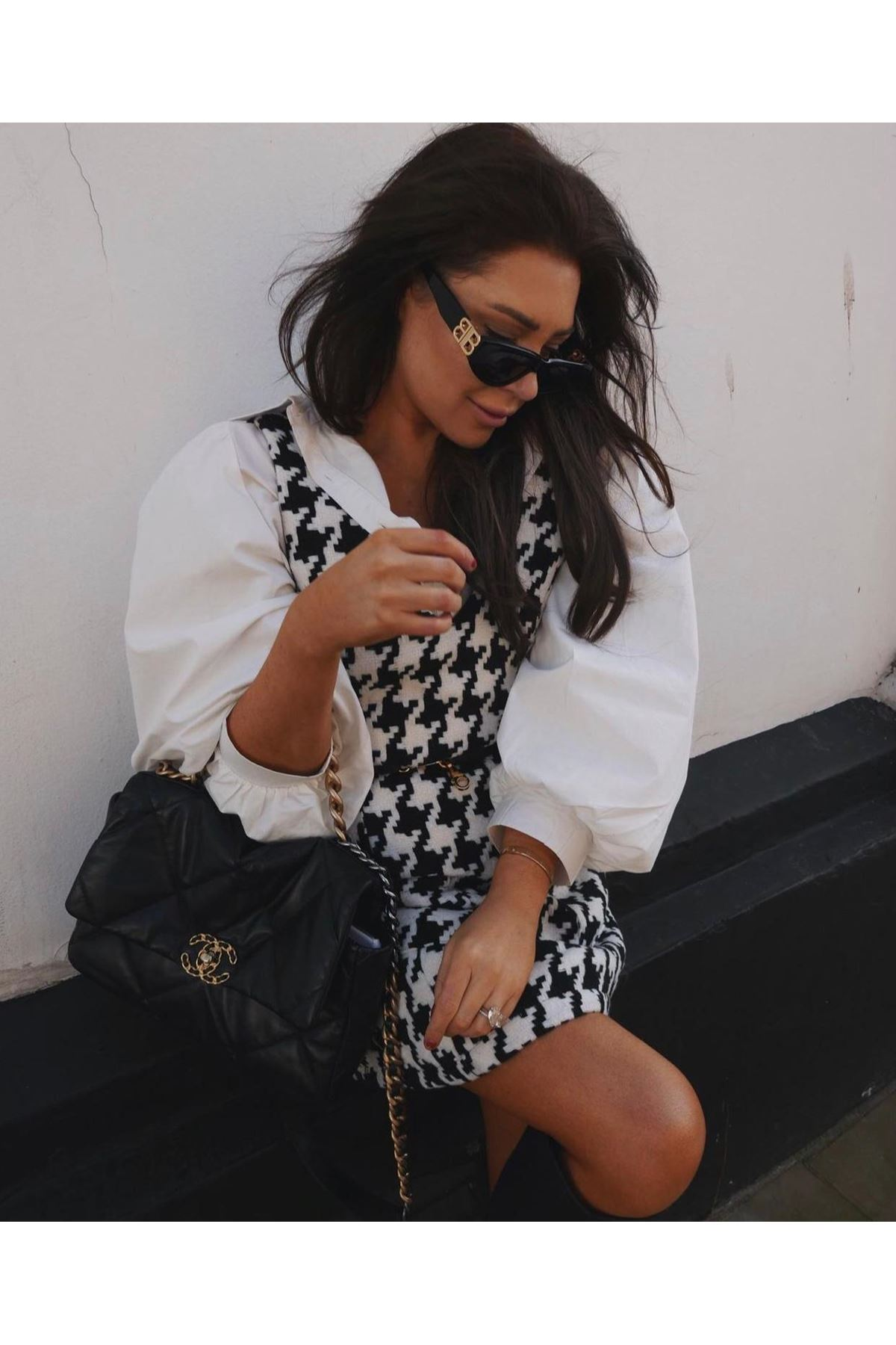 İthal Kaşe Kumaş Kollar Poplin Detay Elbise - MULTİ