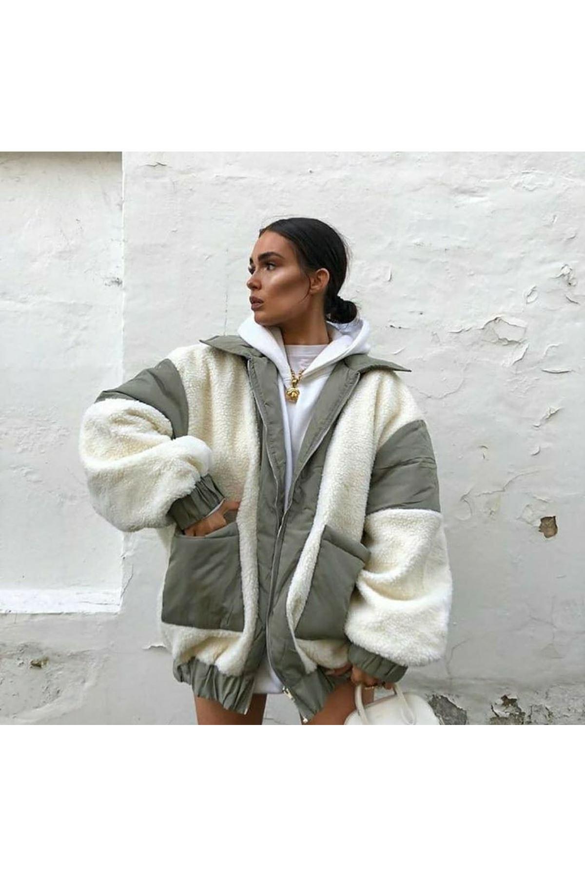 Cepli  Oversize Ceket - YEŞİL