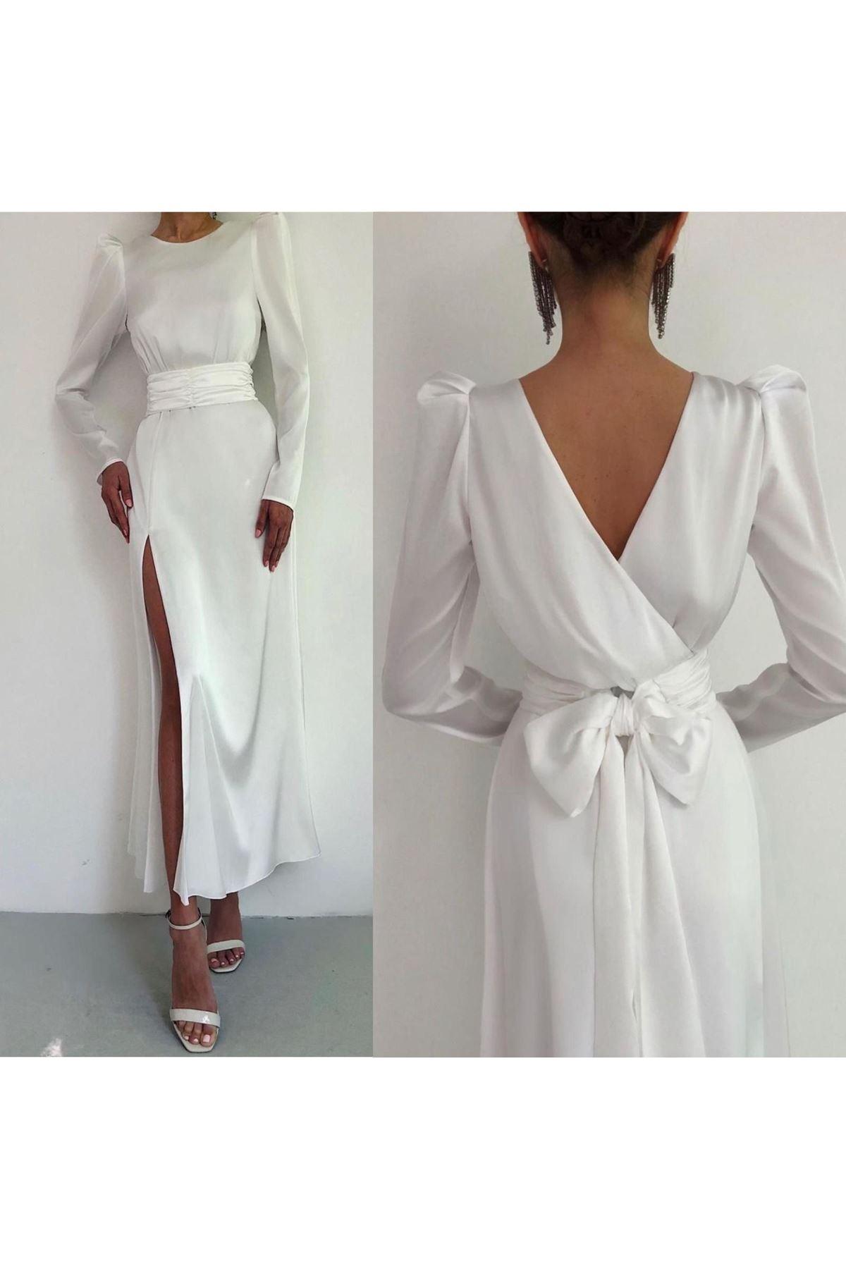Sırt Dekolteli Yırtmaçlı Elbise - Beyaz
