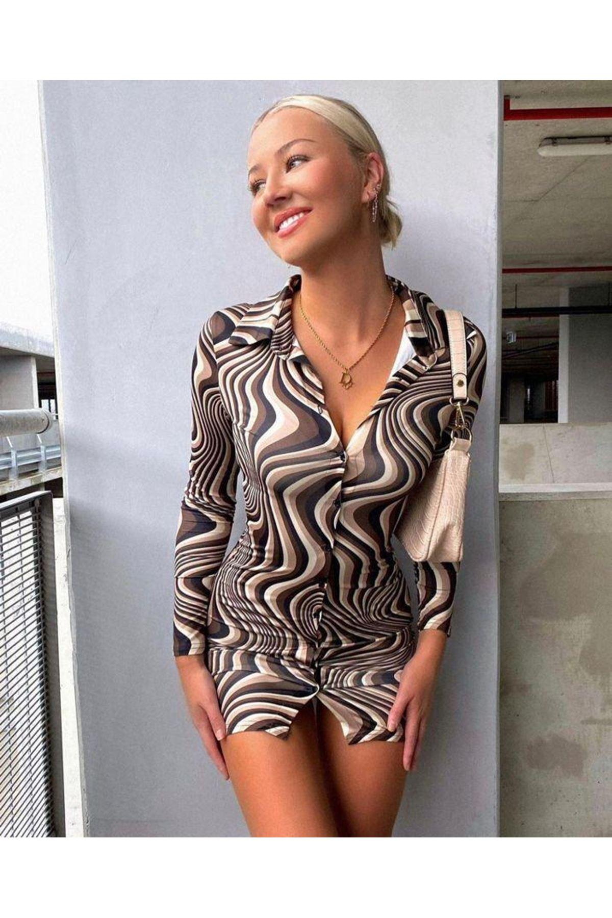 Dijital Baskılı Lycralı Gömlek Elbise  -  MULTİ