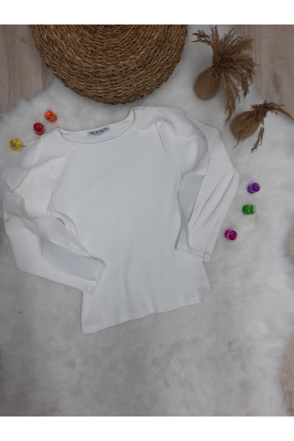 Kaşkorse Kumaş Kol Detay Bluz - BEYAZ