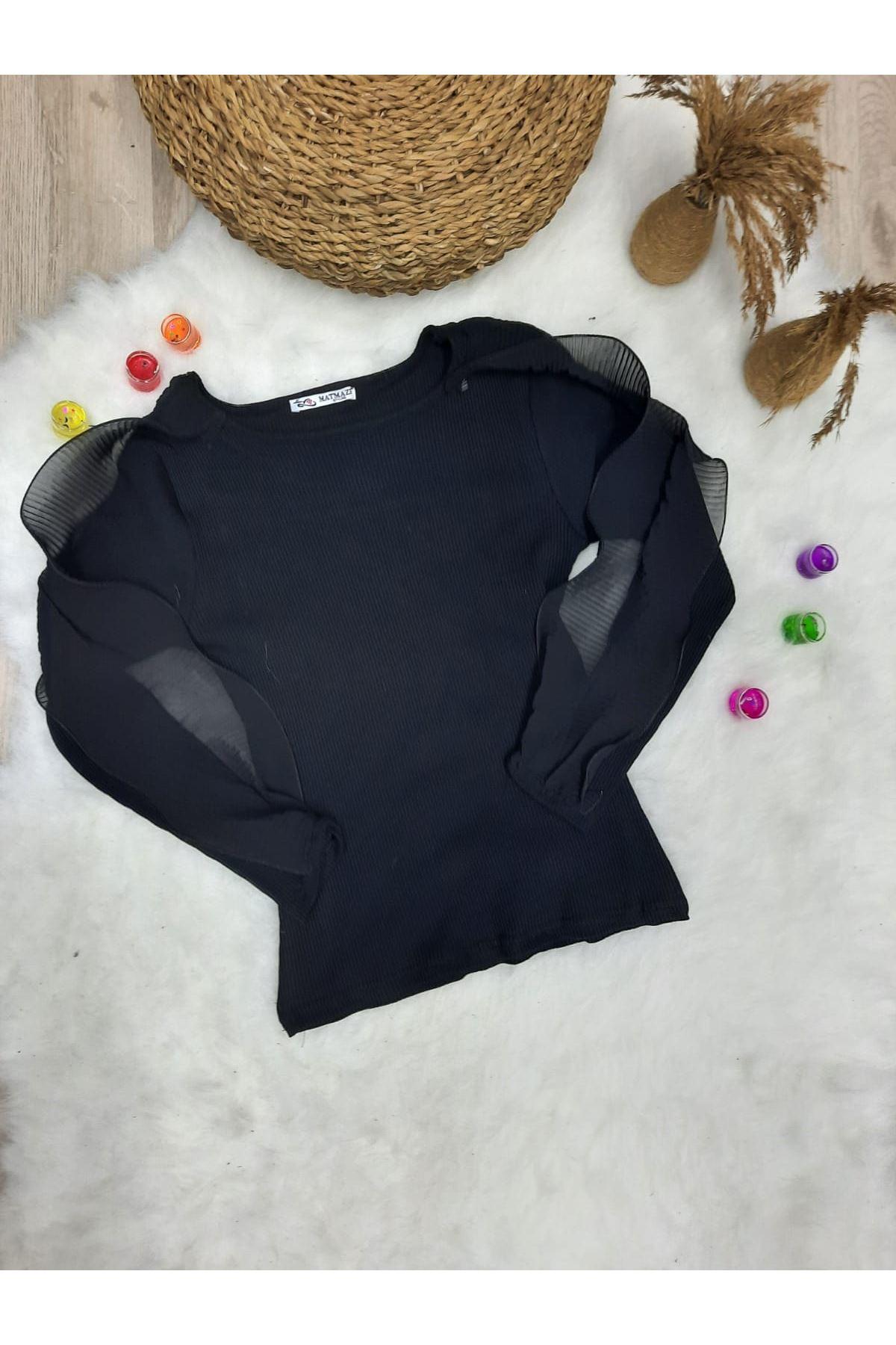Kaşkorse Kumaş Kol Detay Bluz - Siyah