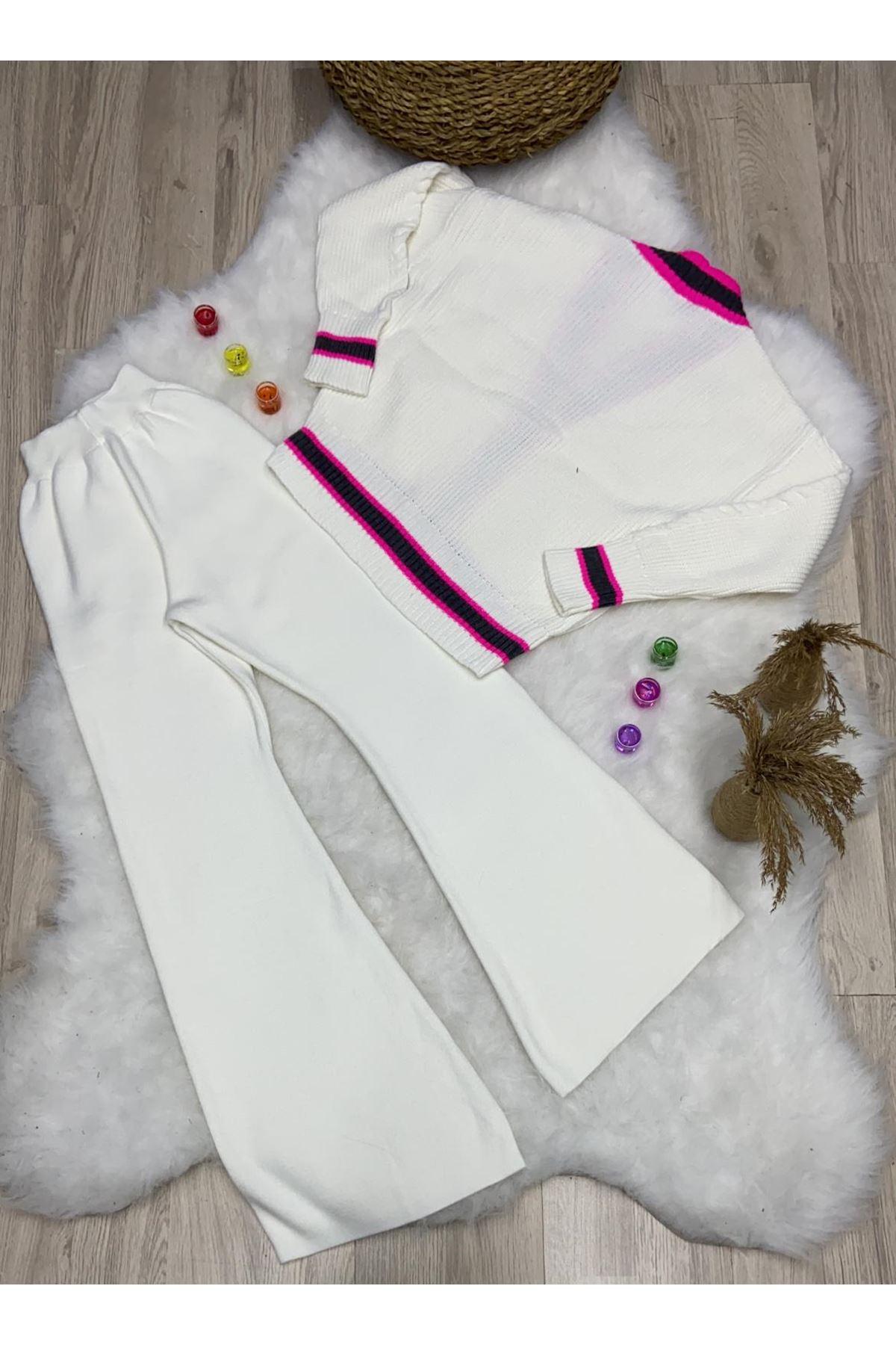 Yumoş İkili Triko Takım - Beyaz