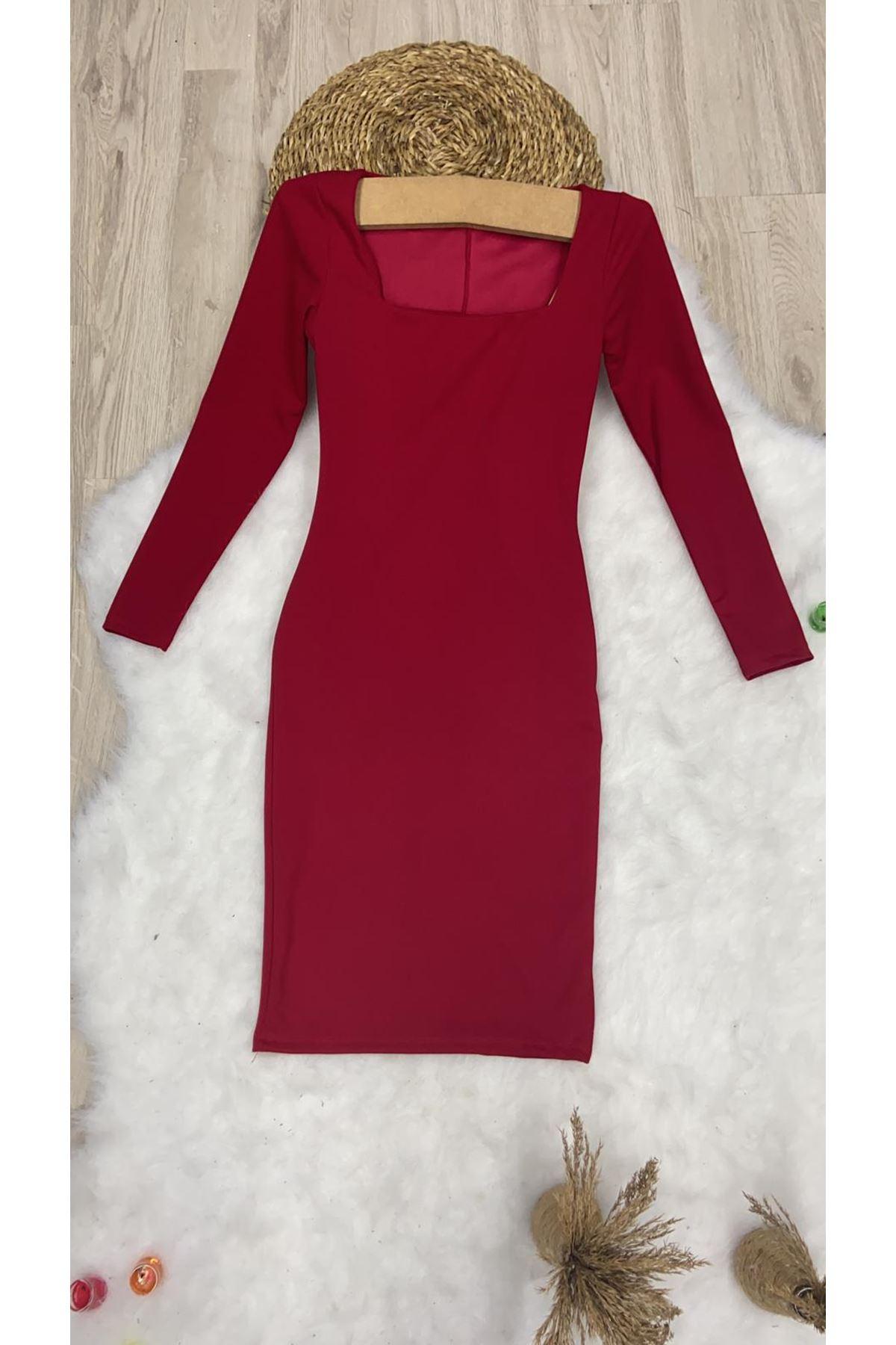 Lycralı Göğüs Dekolteli Midi Elbise - Kırmızı
