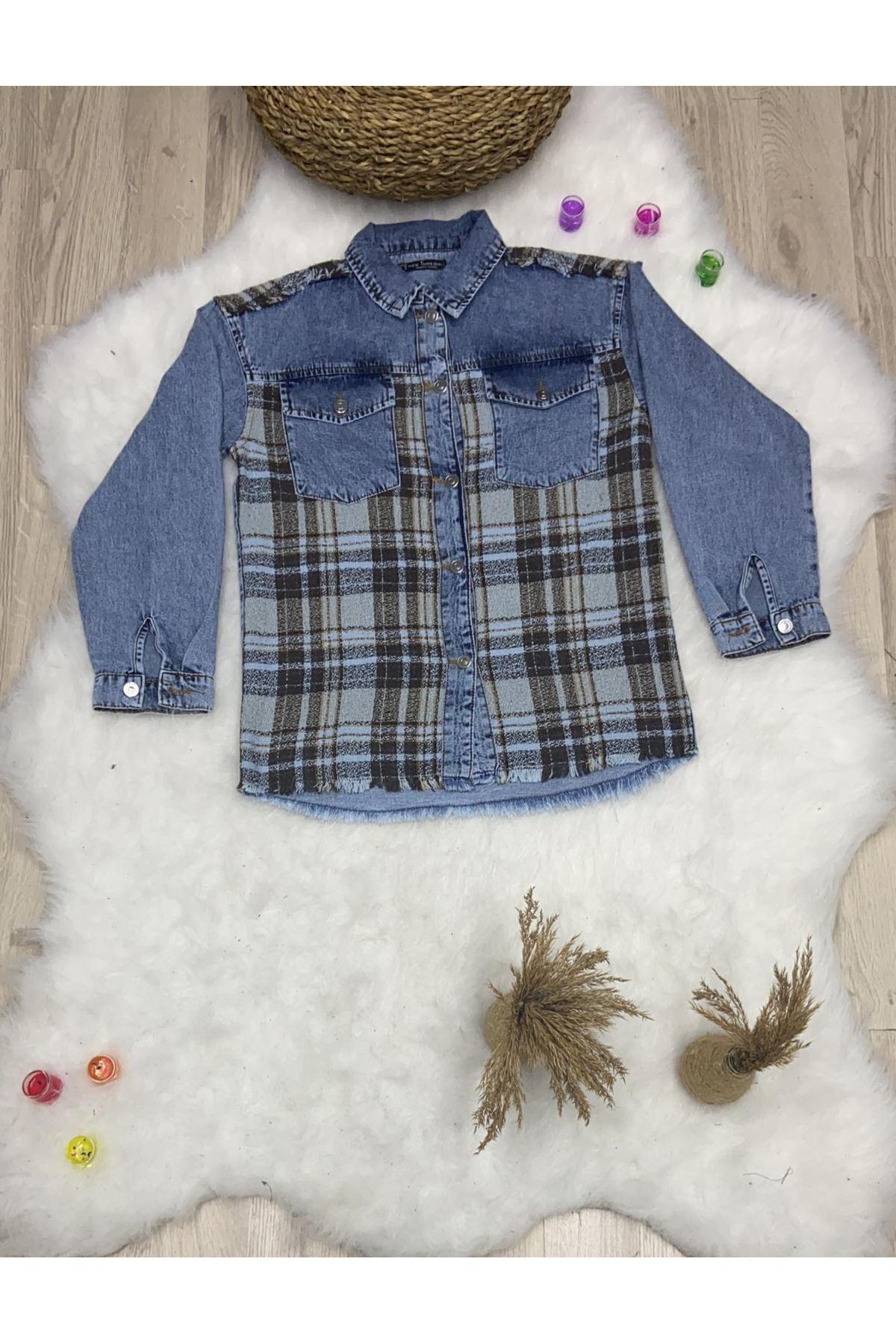 Kaşe Kumaş Detaylı Kot Ceket - MAVİ