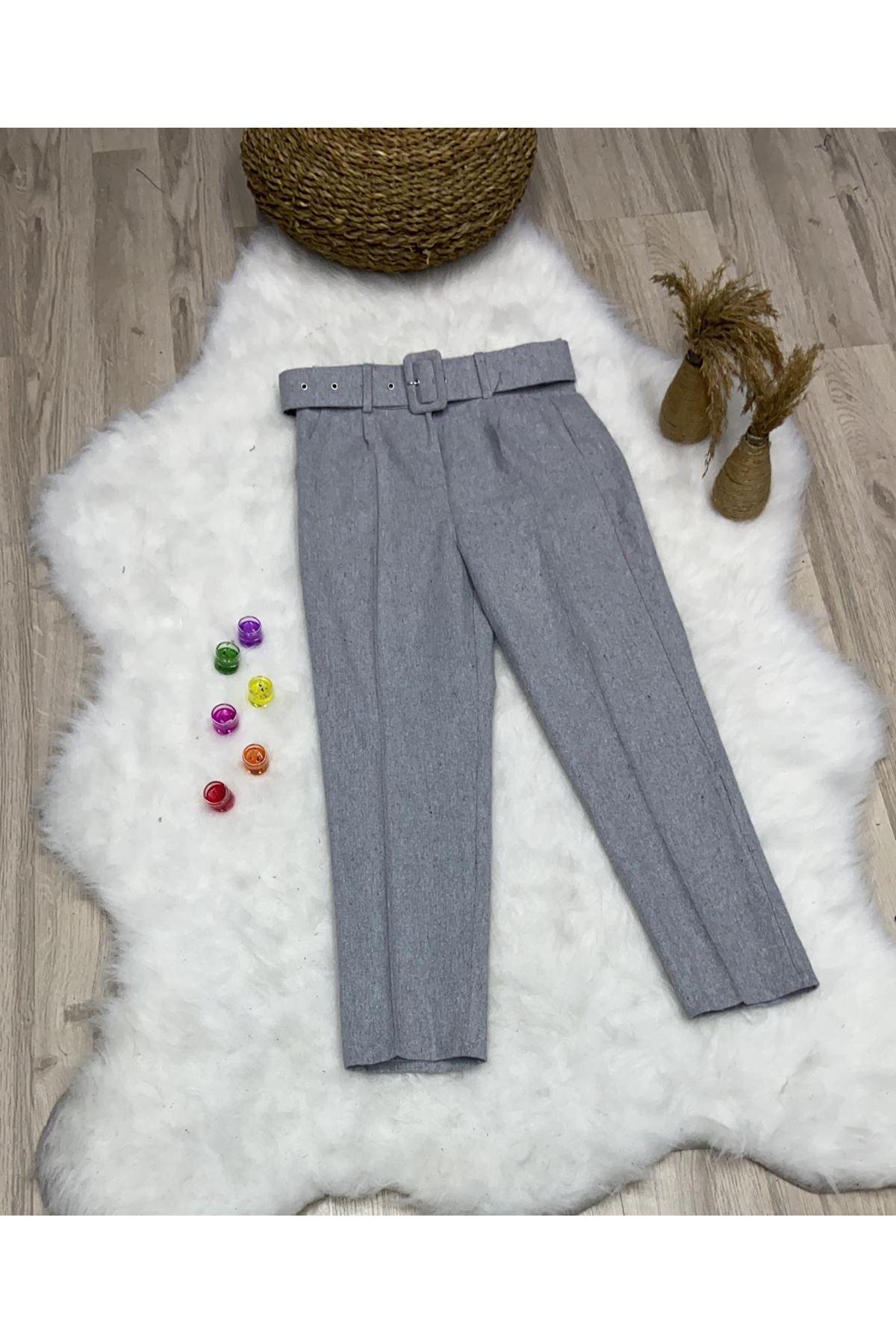 Kalın Kemer Kaşe Pantolon    - Gri