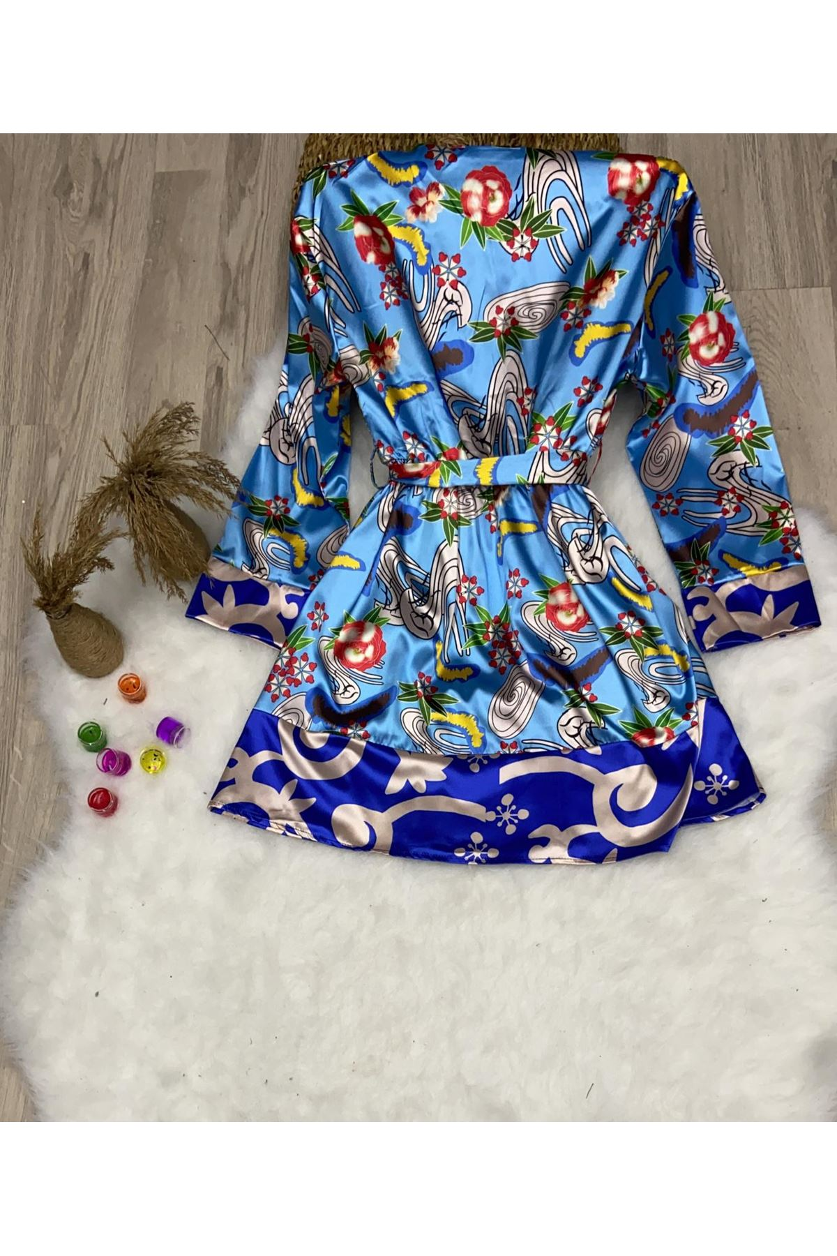 Çiçek Desenli Ceket - mavi