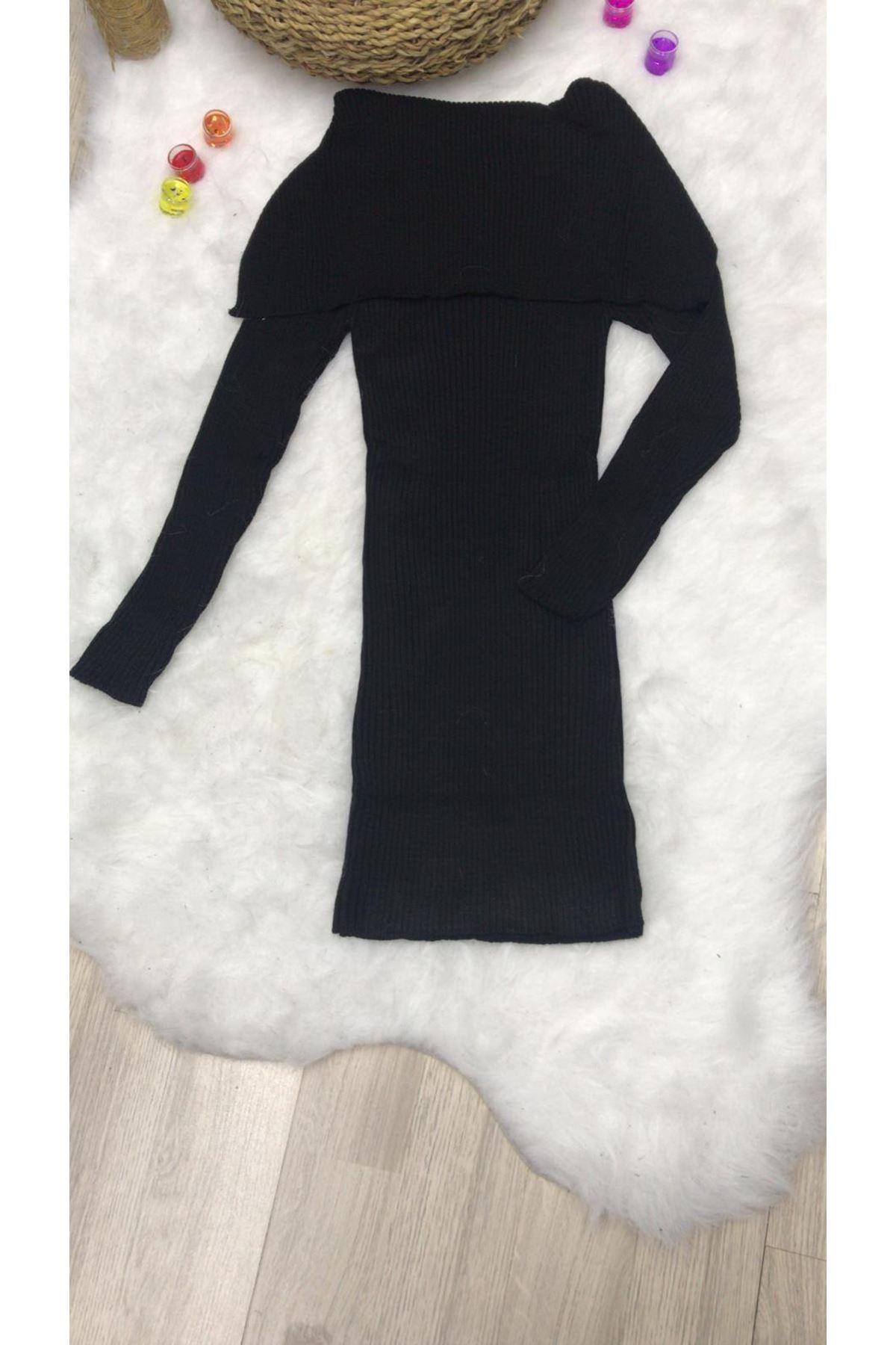 Omuz Detay Triko Elbise  - SİYAH