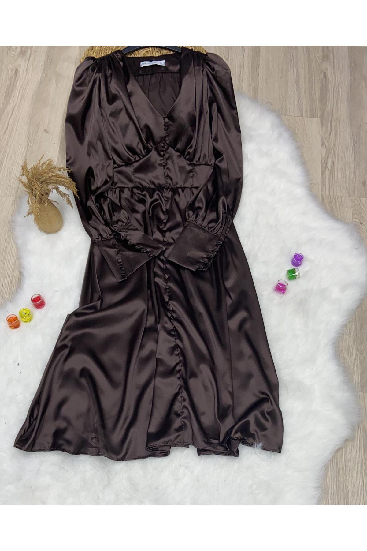 Kol Manşet Saten Elbise  - BORDO
