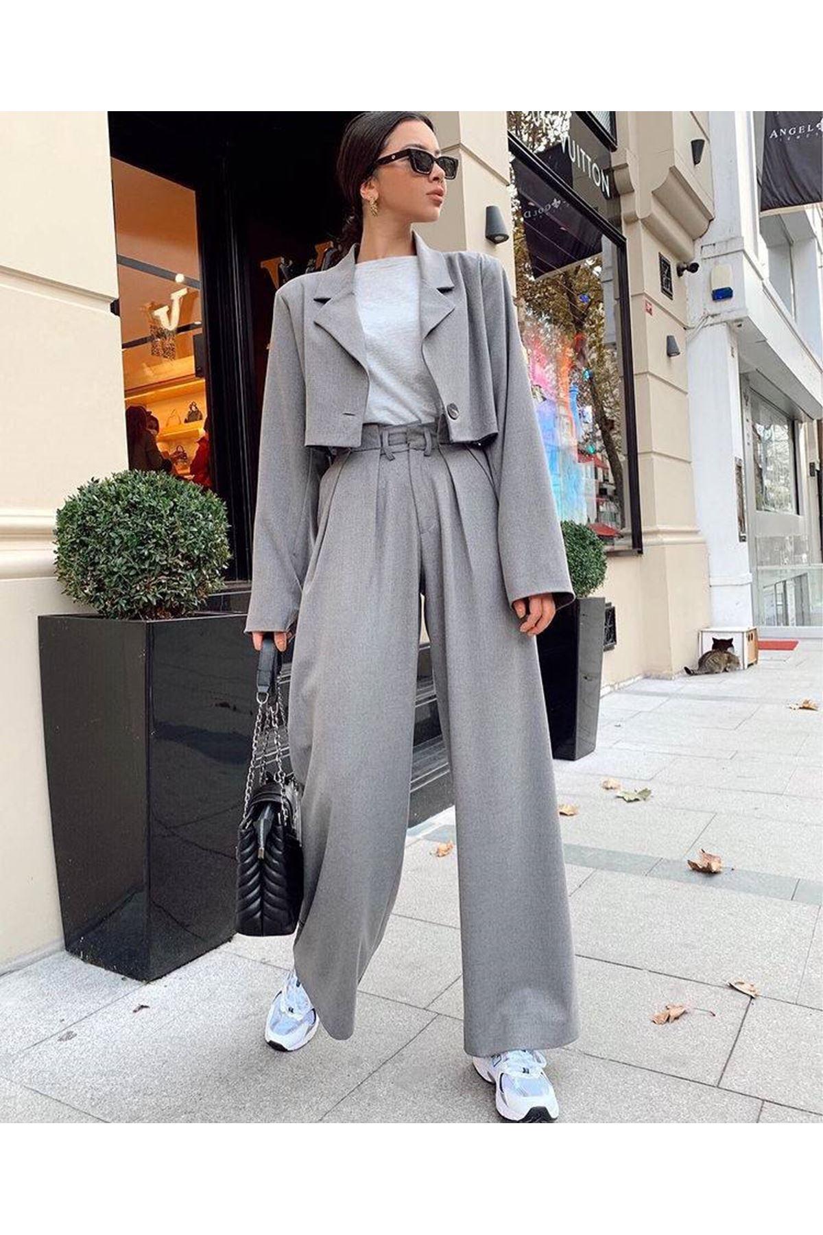 Blazer Pantolon Ceket Takım - GRİ