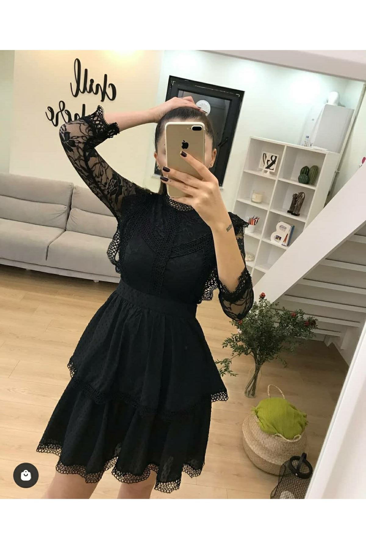 Dantel Detay Güpür Elbise  - SİYAH