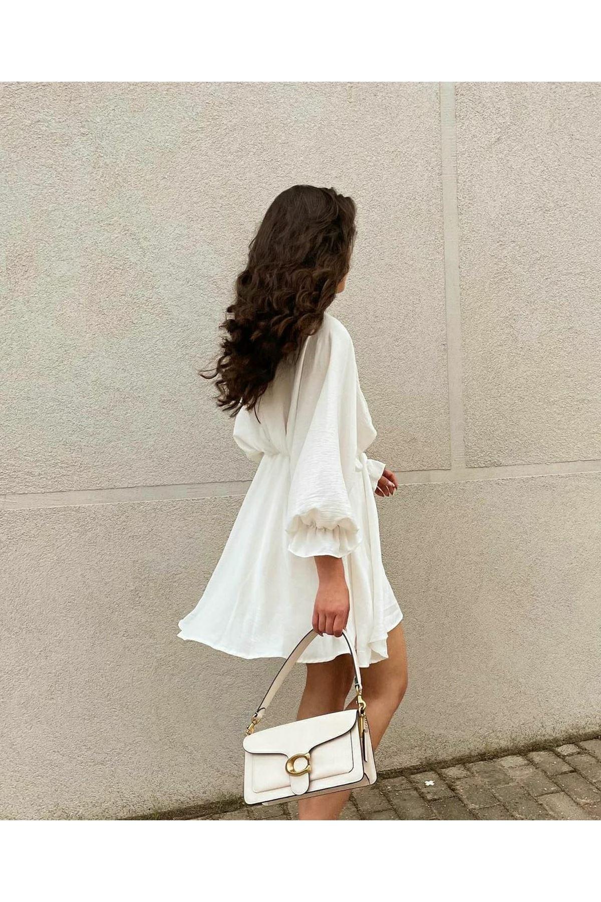 Balon Kol Mini Elbise  - BEYAZ