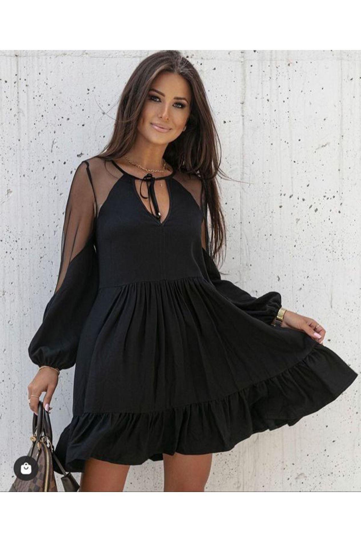 Suprem Kumaş Tül Detaylı Elbise  - SİYAH