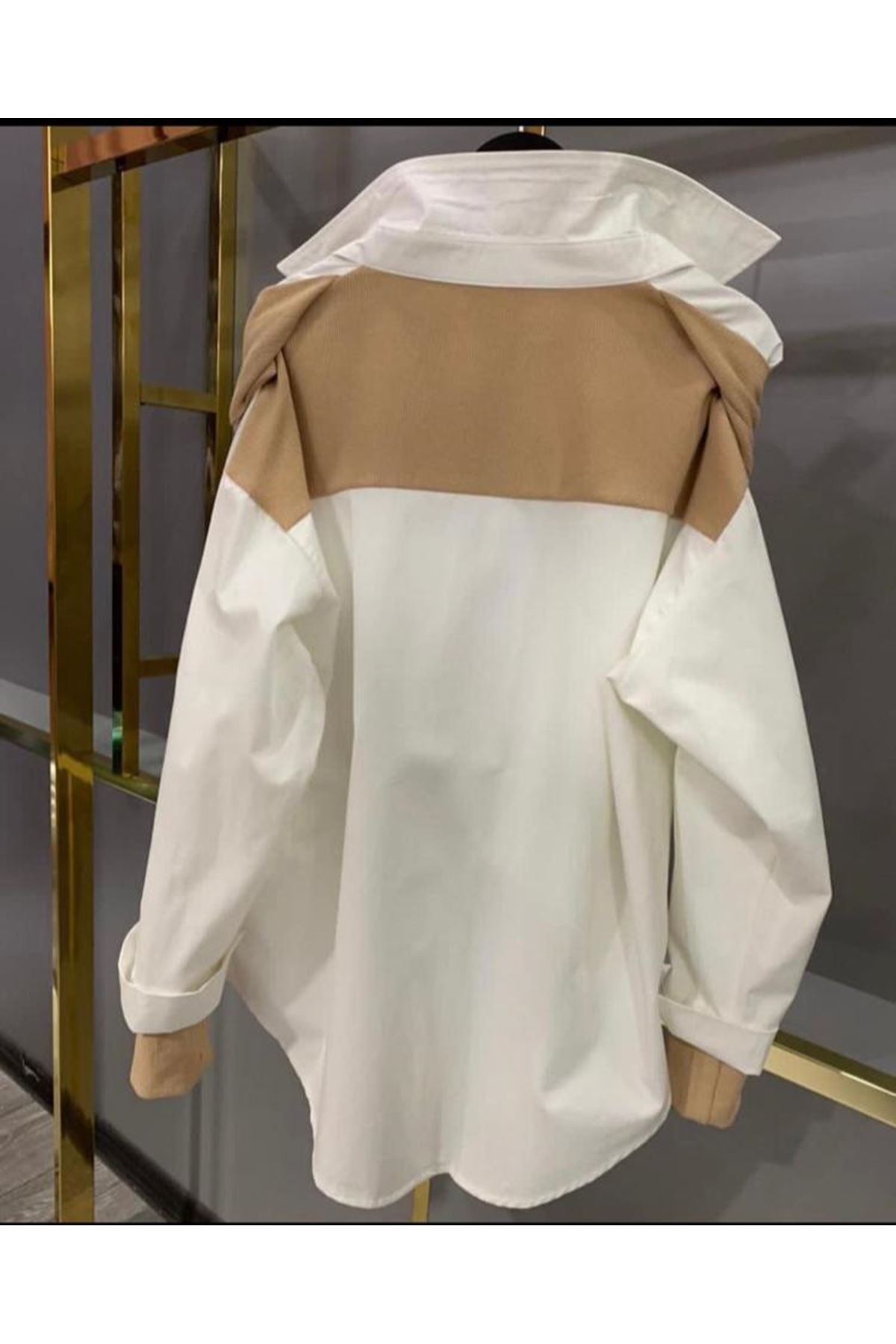 Rihana Detaylı Poplin Gömlek - VİZON