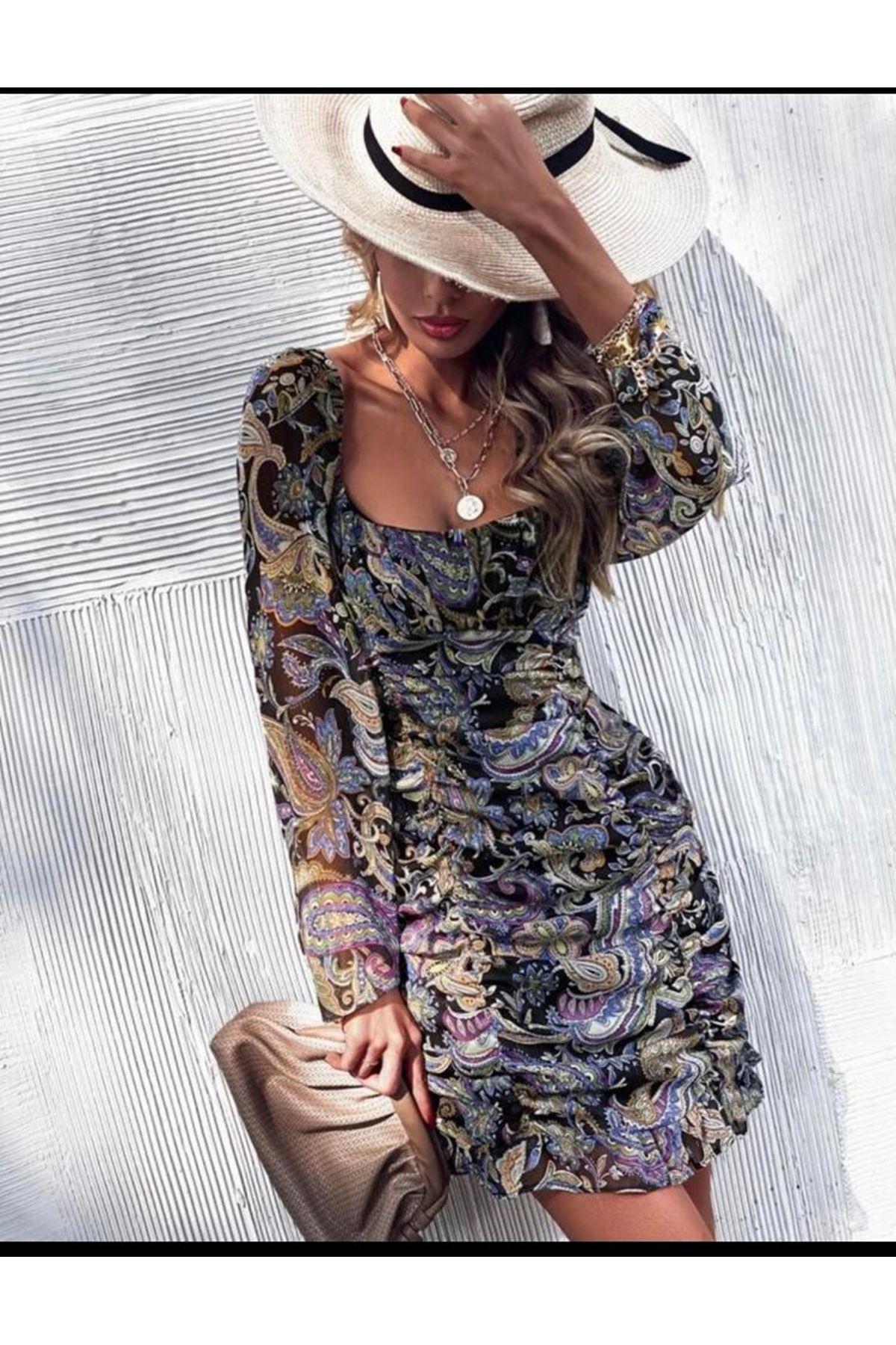 Drape Detay Çiçekli Elbise - MULTİ