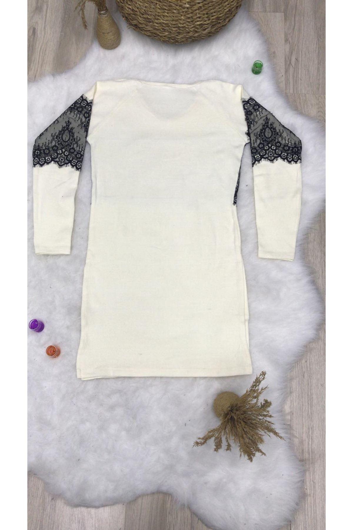 Dantel Şerit Tunik Elbise - beyaz