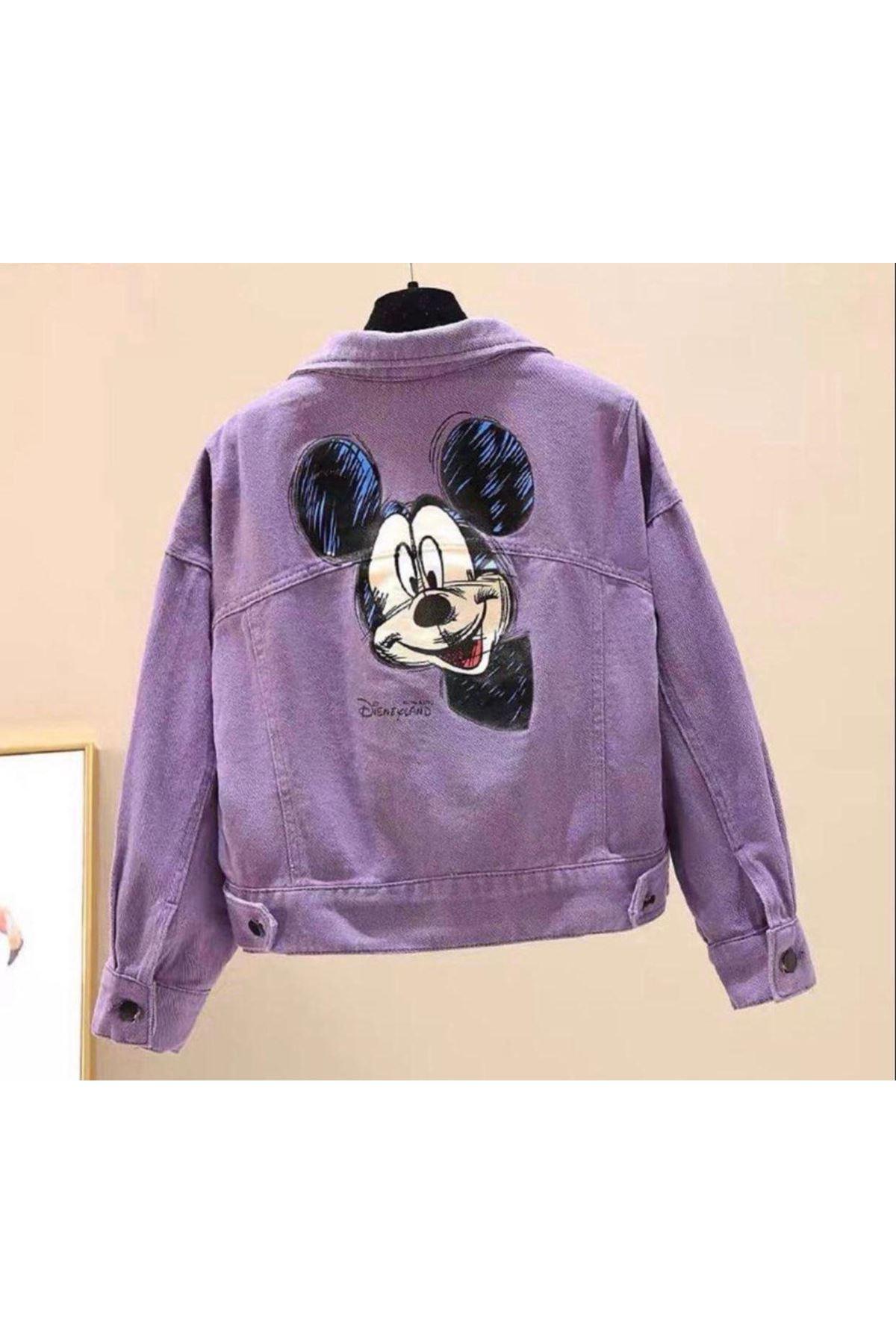 Mickey Baskılı Kot Ceket  - LİLA