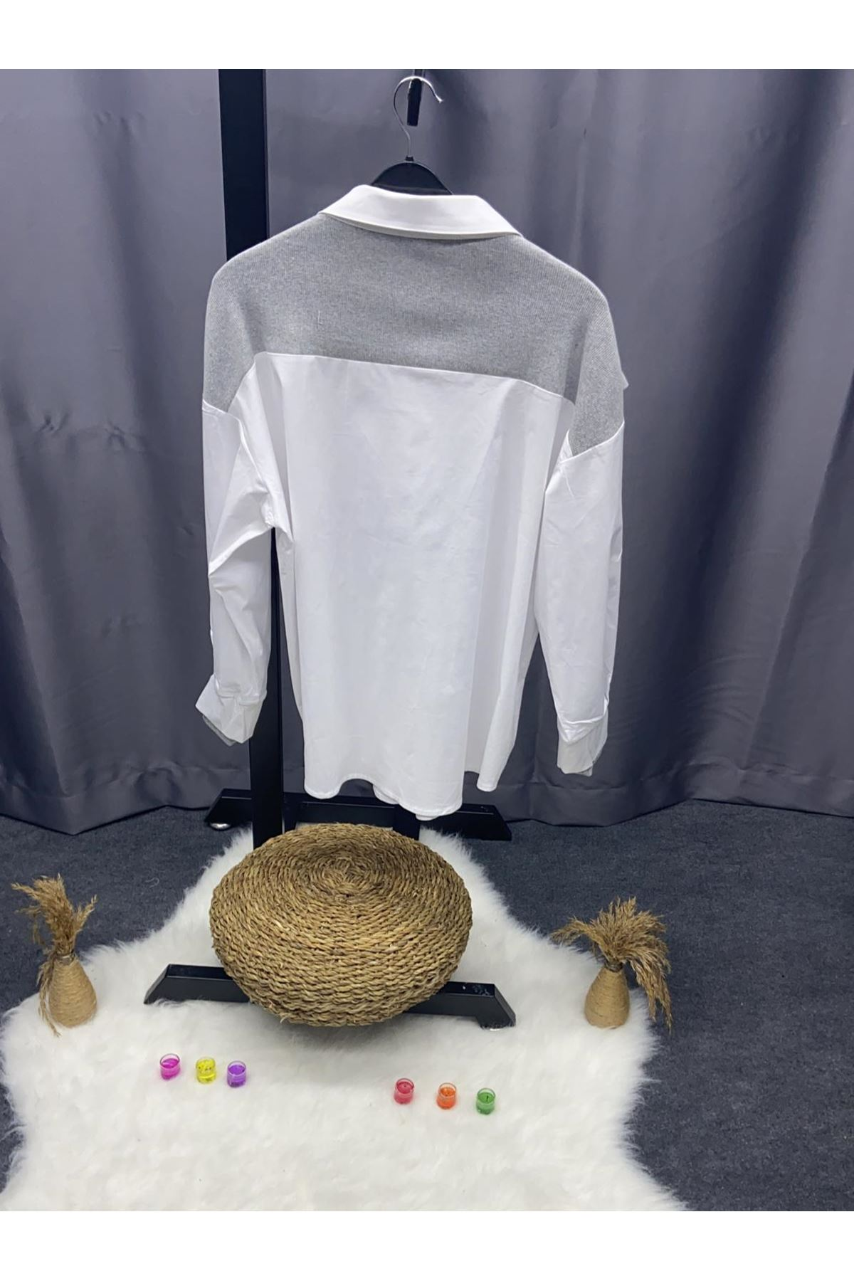 Rihana Detaylı Poplin Gömlek - GRİ