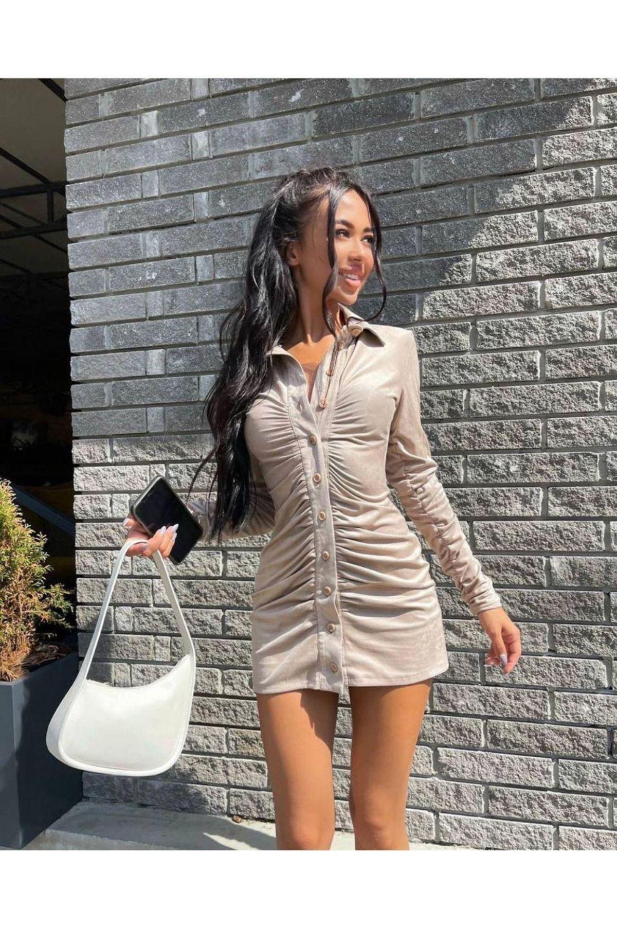 Düğme Detay Büzgülü Mini Elbise - BEJ