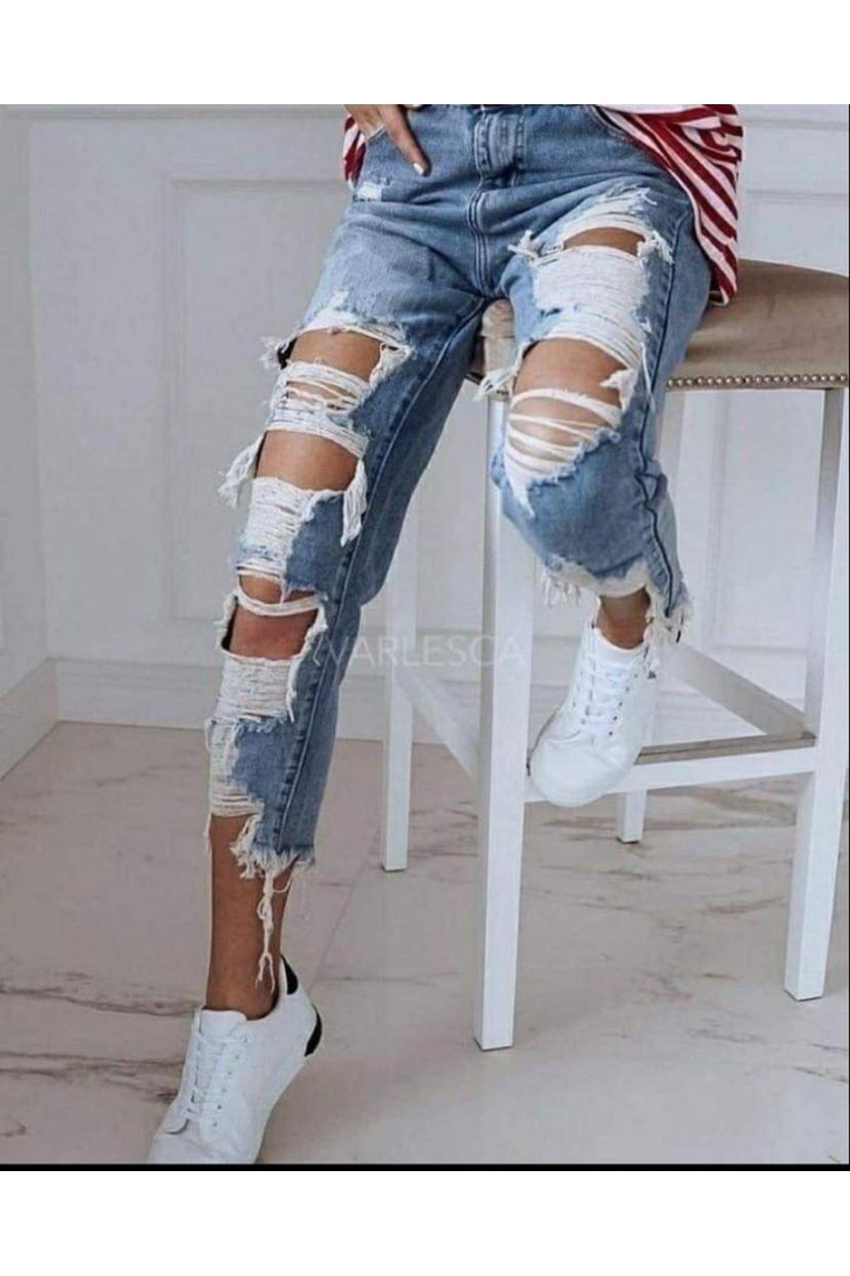 Yırtık Detay Kot Pantolon - MAVİ