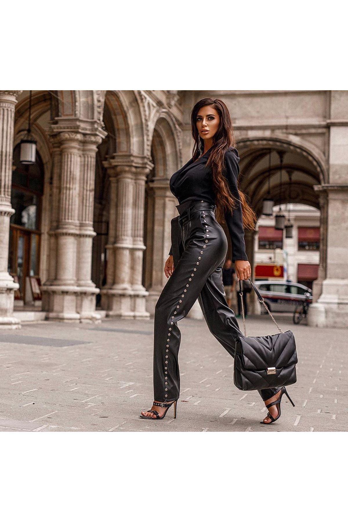 Kuşaklı Zımba Detay Deri Pantolon -  SİYAH
