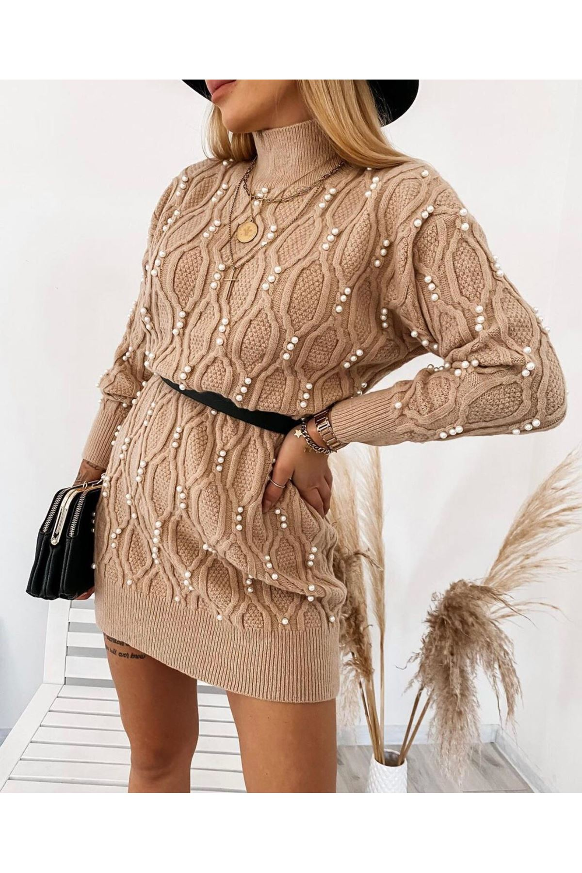 İnci Detay Mini Elbise  - VİZON