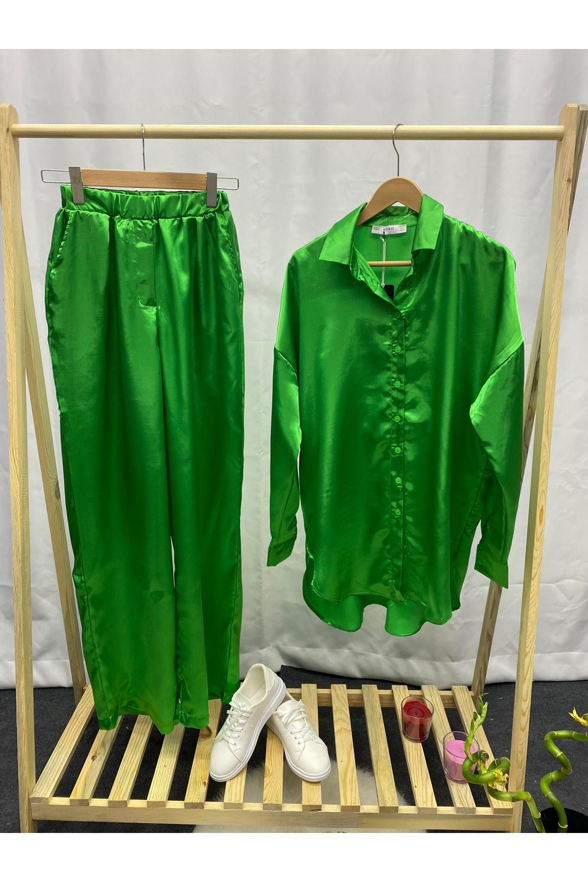 Saten Yeşil İkili Takım  - YEŞİL