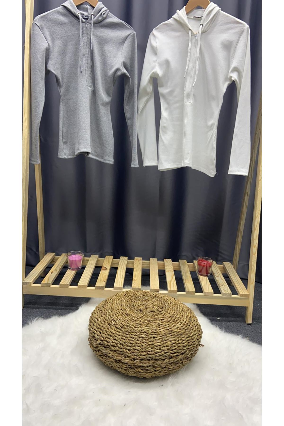 Kaşkorse Kapşonlu Bluz - BEYAZ